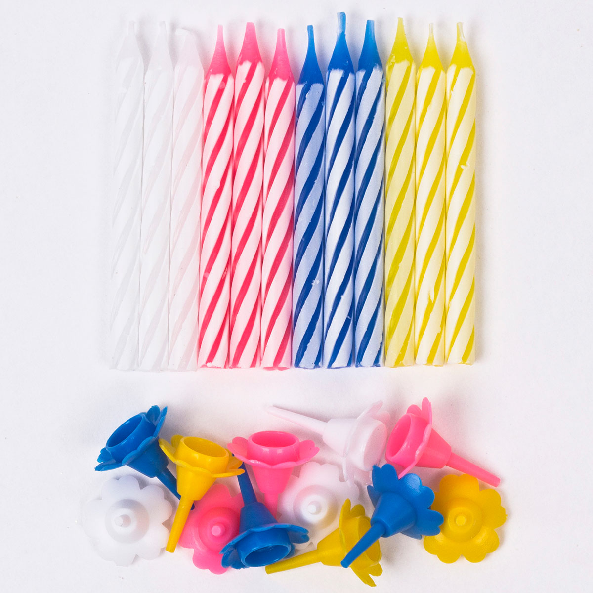 Candy Stripe Birthday Candles & Holders - Pack Of 12