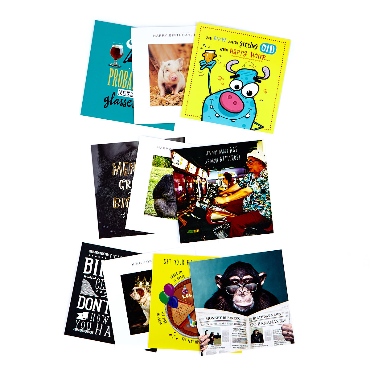 Funny Assorted Male Birthday Cards - Pack Of 10