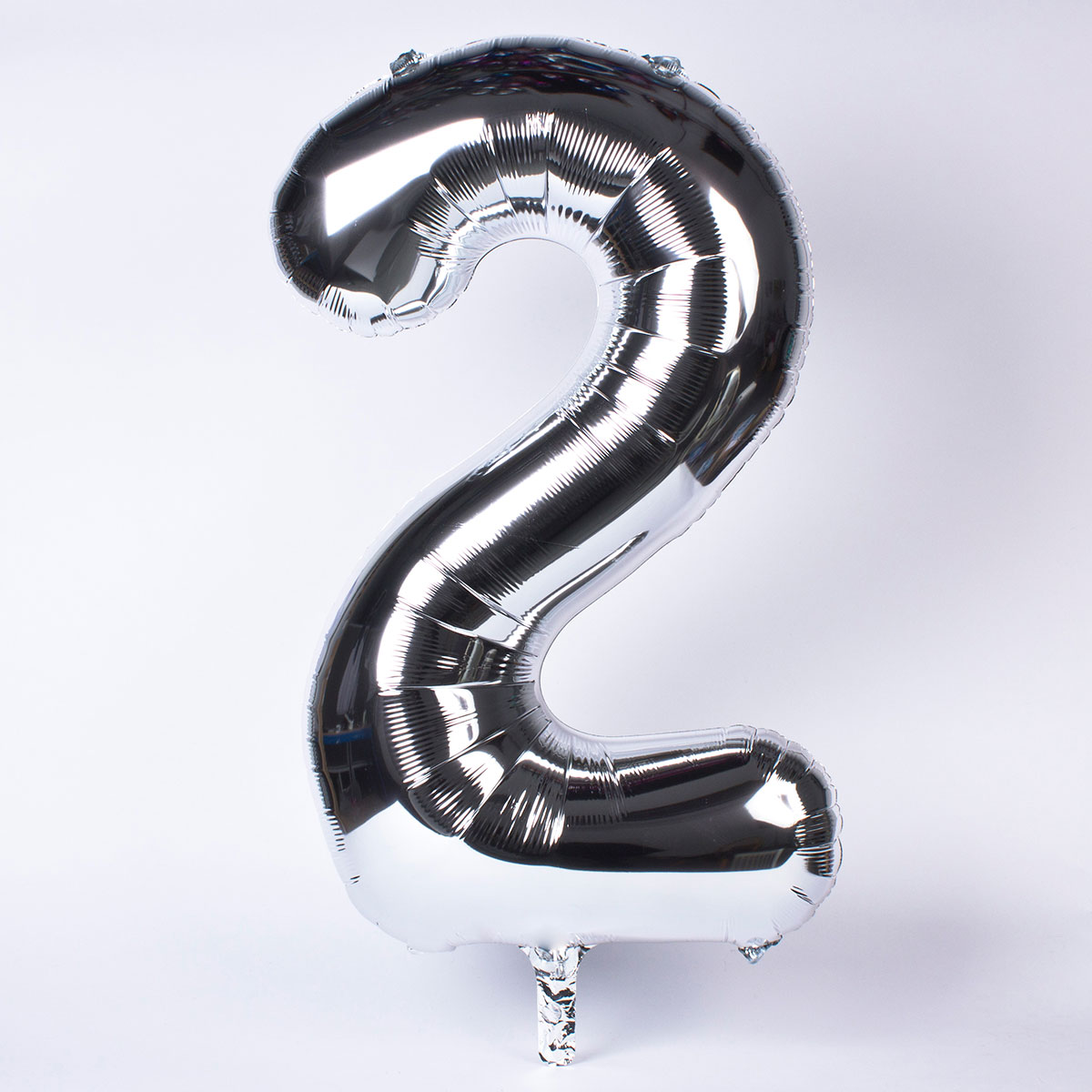 Silver Number 2 Giant Foil Helium Balloon INFLATED