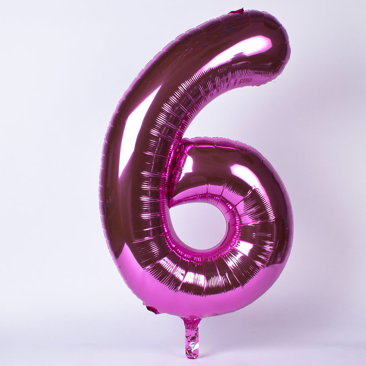 Pink Number 6 Giant Foil Helium Balloon INFLATED