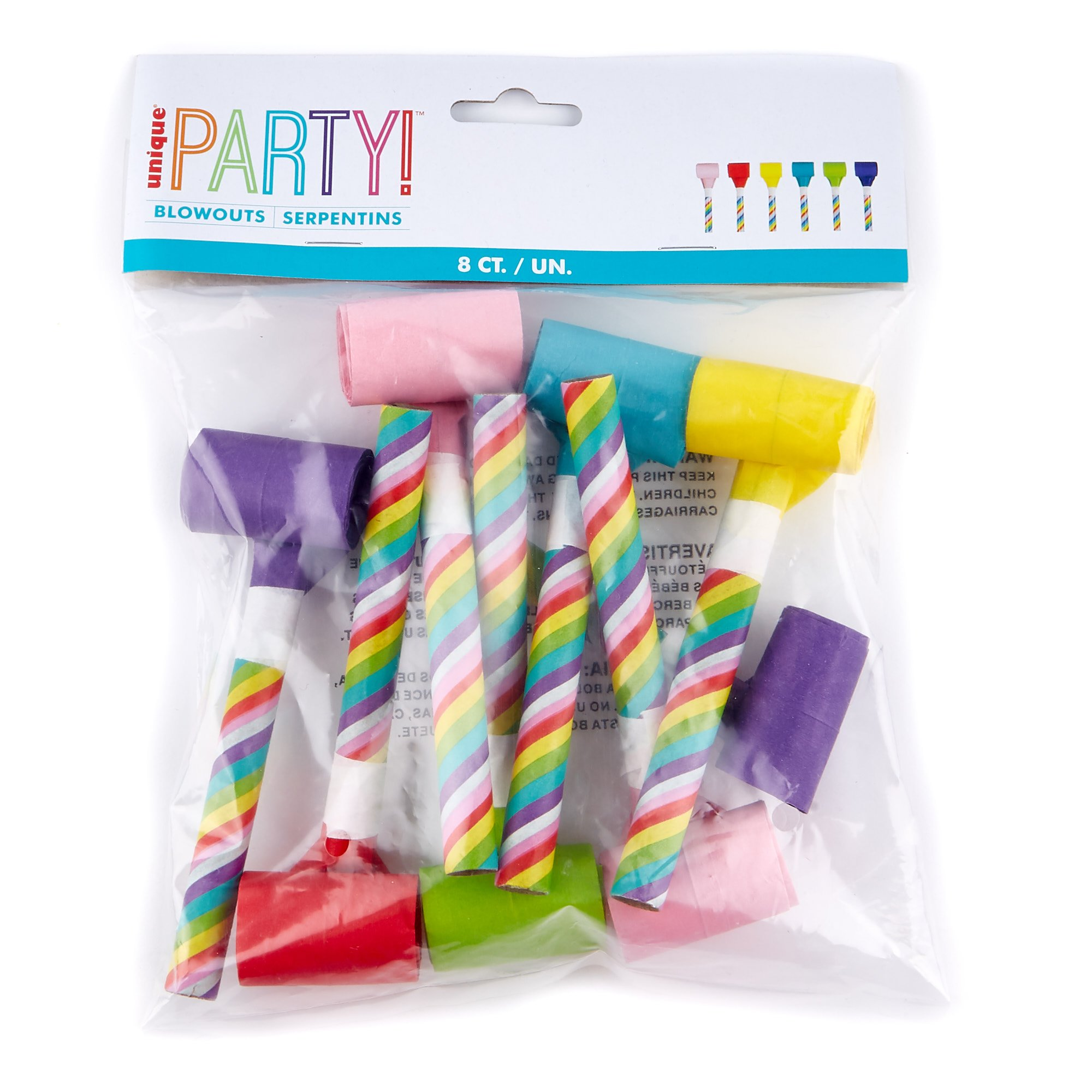 Rainbow Paper Party Blowouts - Pack of 6