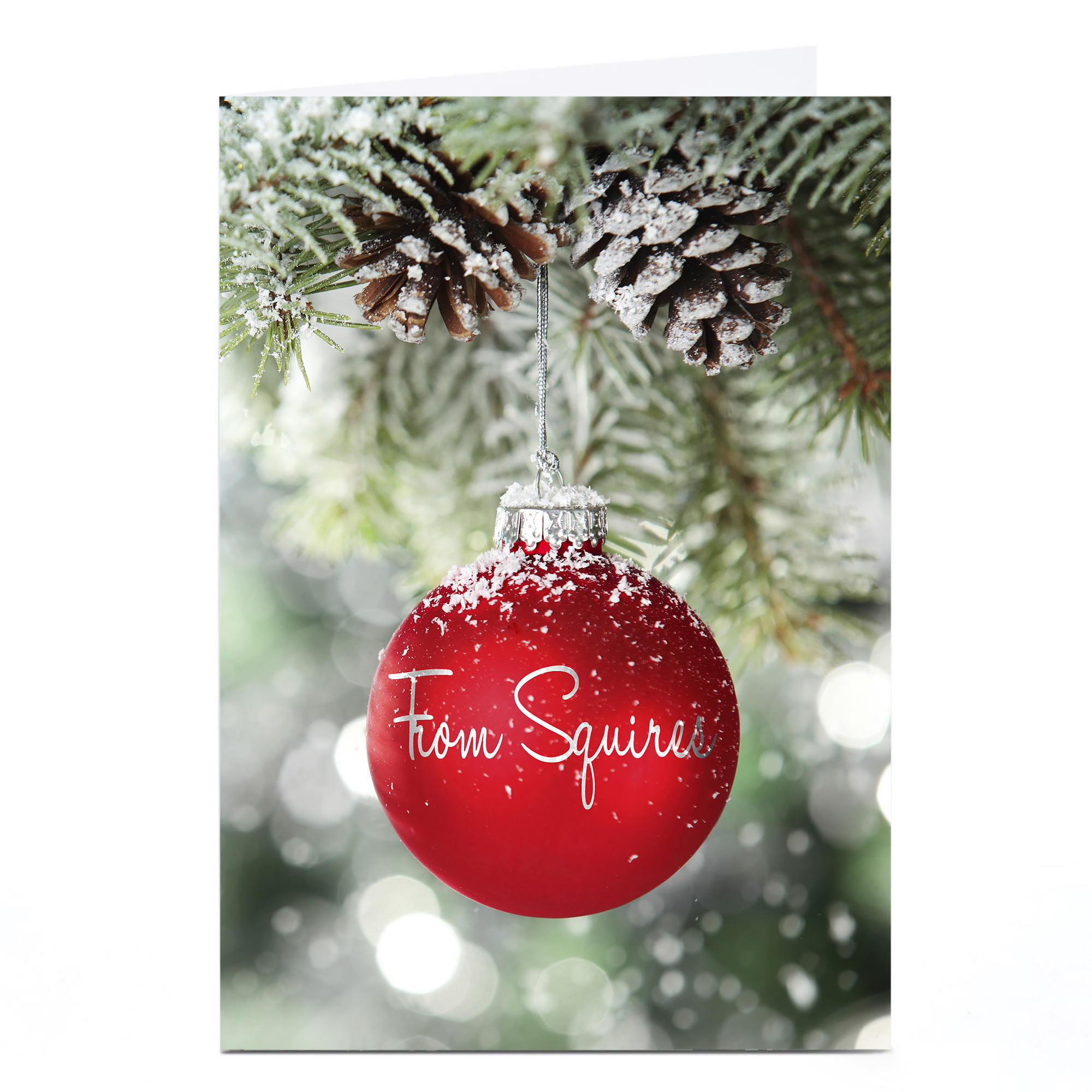 Personalised Business Christmas Card - Red Snowy Bauble