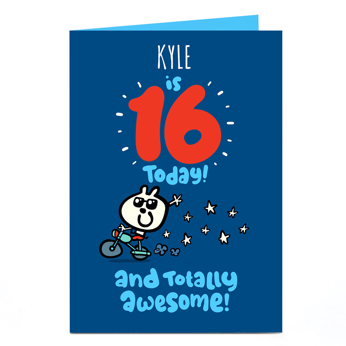Personalised Fruitloops 16th Birthday Card - Awesome, Blue