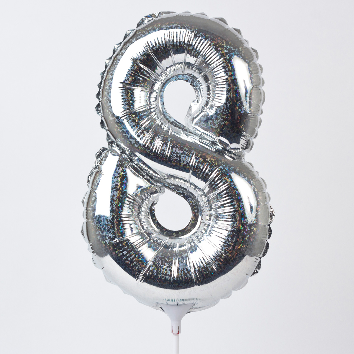 Holographic Silver Number 8 Balloon On A Stick