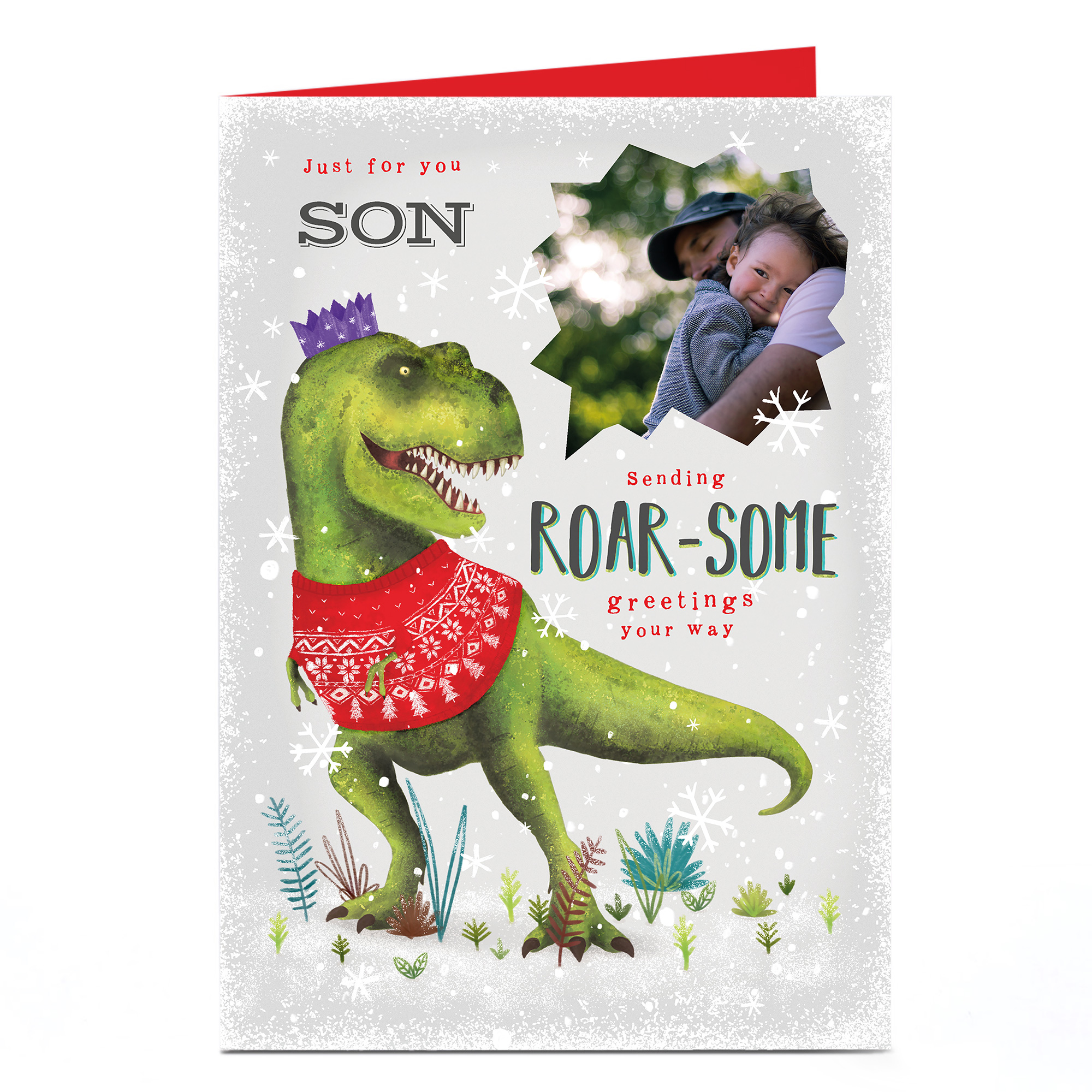 Personalised Photo Christmas Card - Roar-some Greetings Son