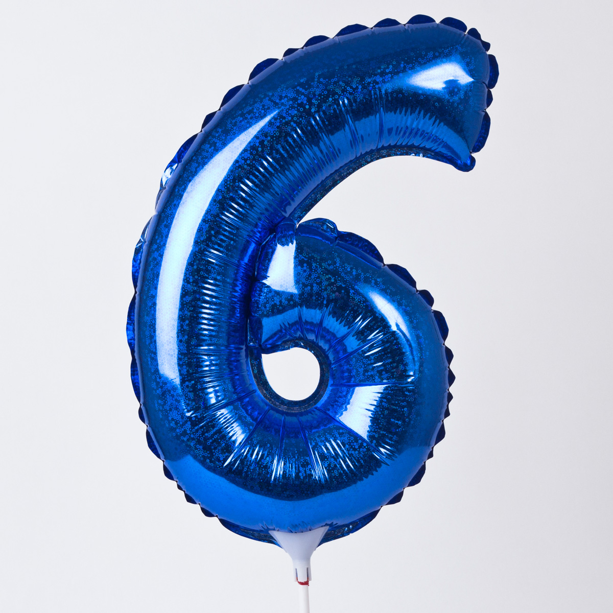 Holographic Blue Number 6 Balloon On A Stick