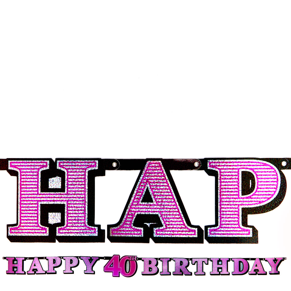 Pink Holographic 40th Birthday Banner