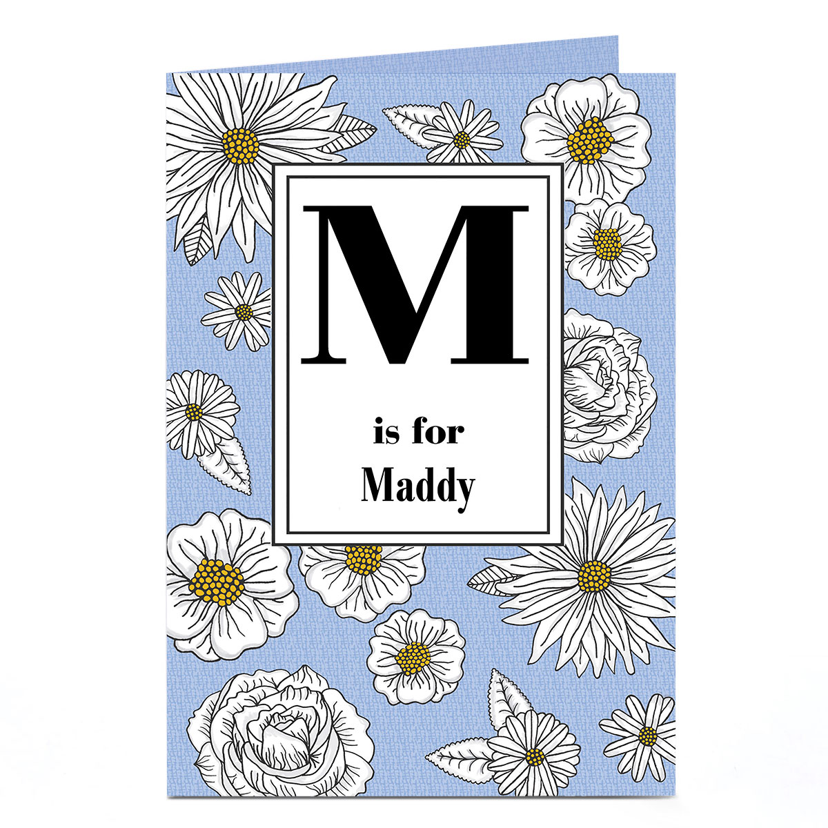 Personalised Card - Initial & Flowers