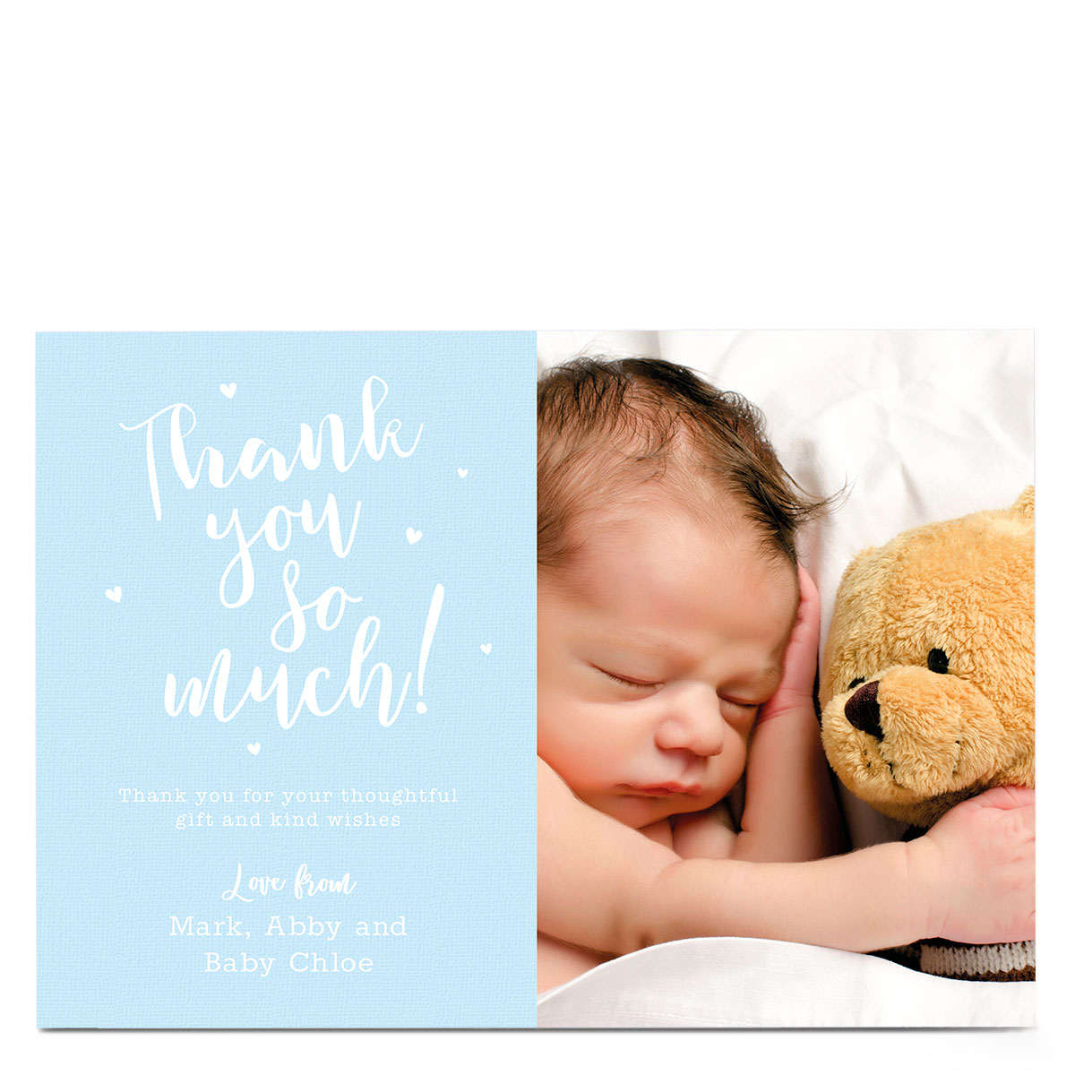 New Baby Photo Card - Thank You Blue