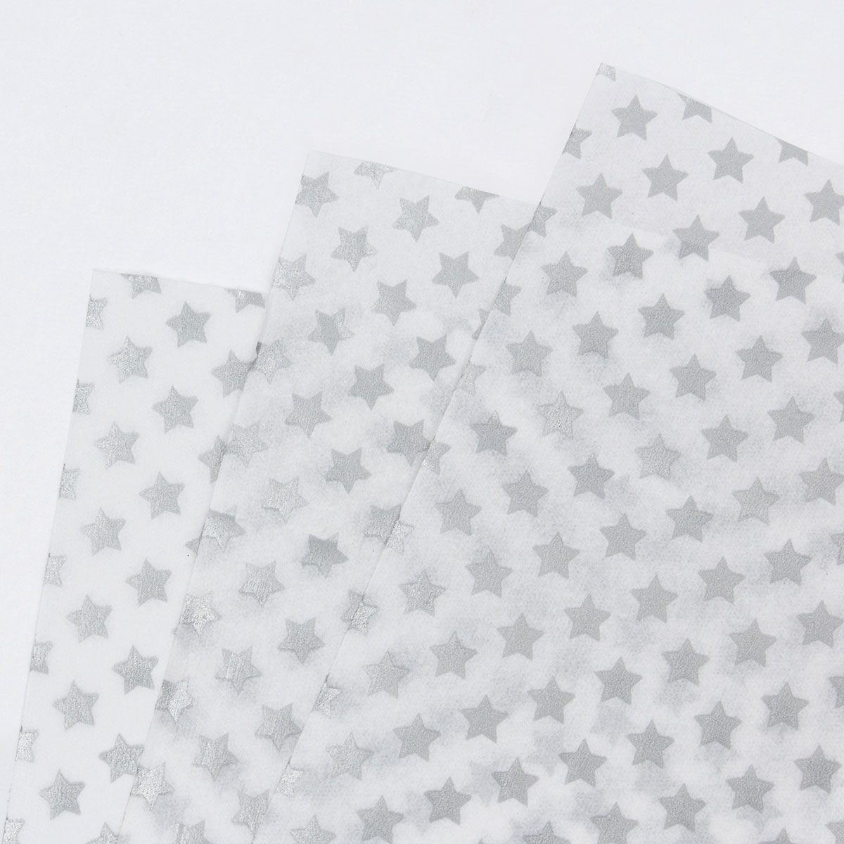 White Tissue Paper With Silver Stars - 7 Sheets