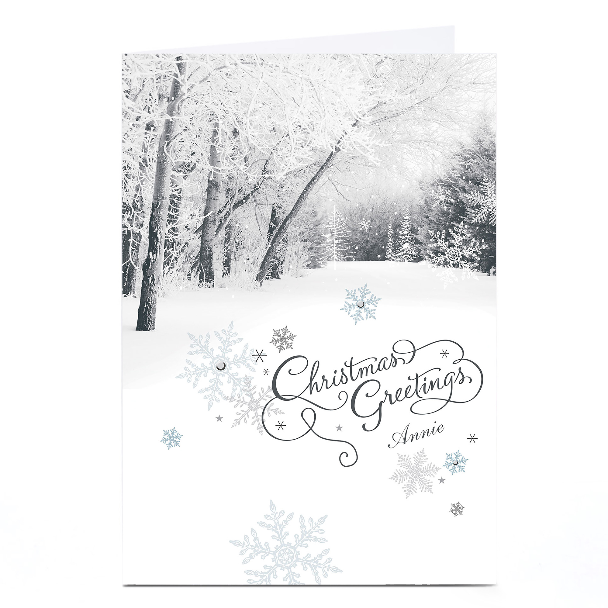 Personalised Christmas Card - White Forest