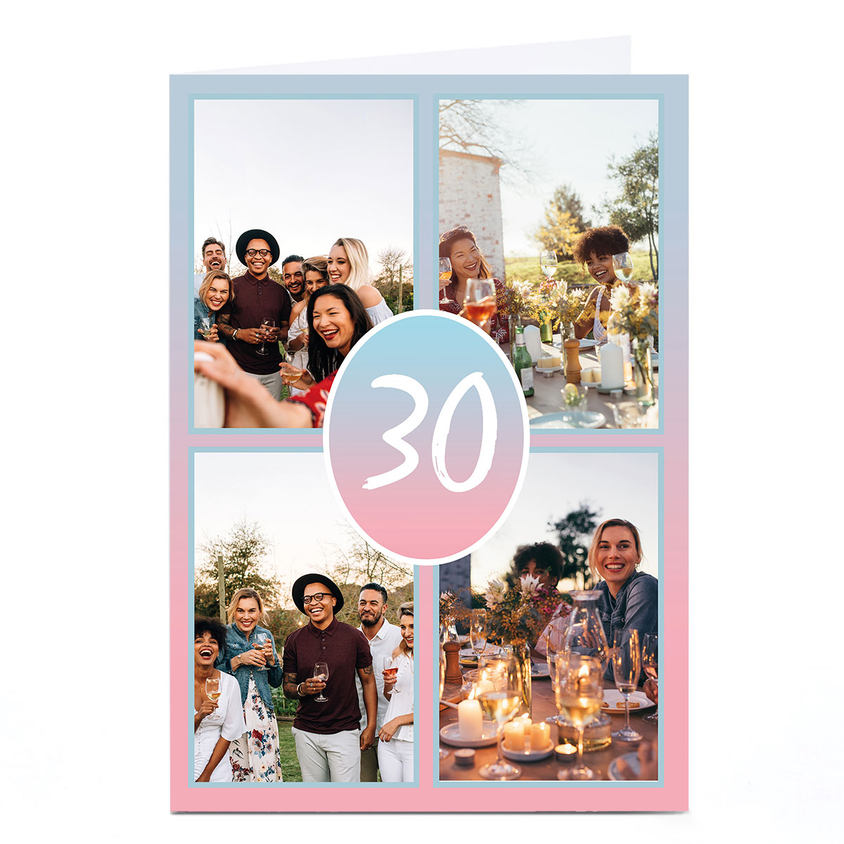 Photo Any Age Birthday Card - Pink Gradient