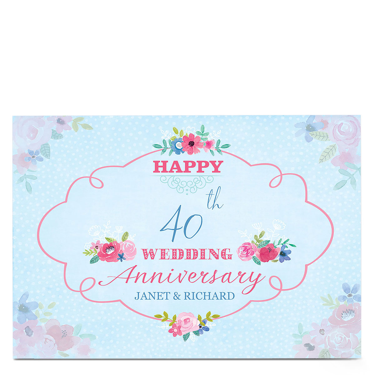 Personalised Anniversary Card - Floral & Blue