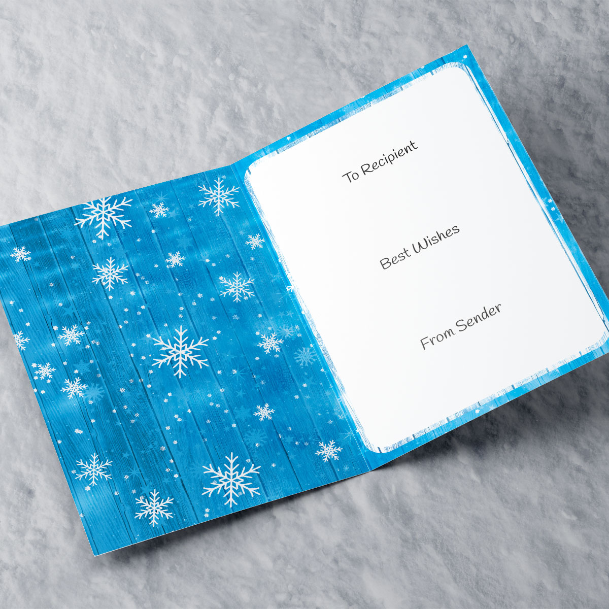 Photo Upload Christmas Card - Blue Wood With Snowflakes