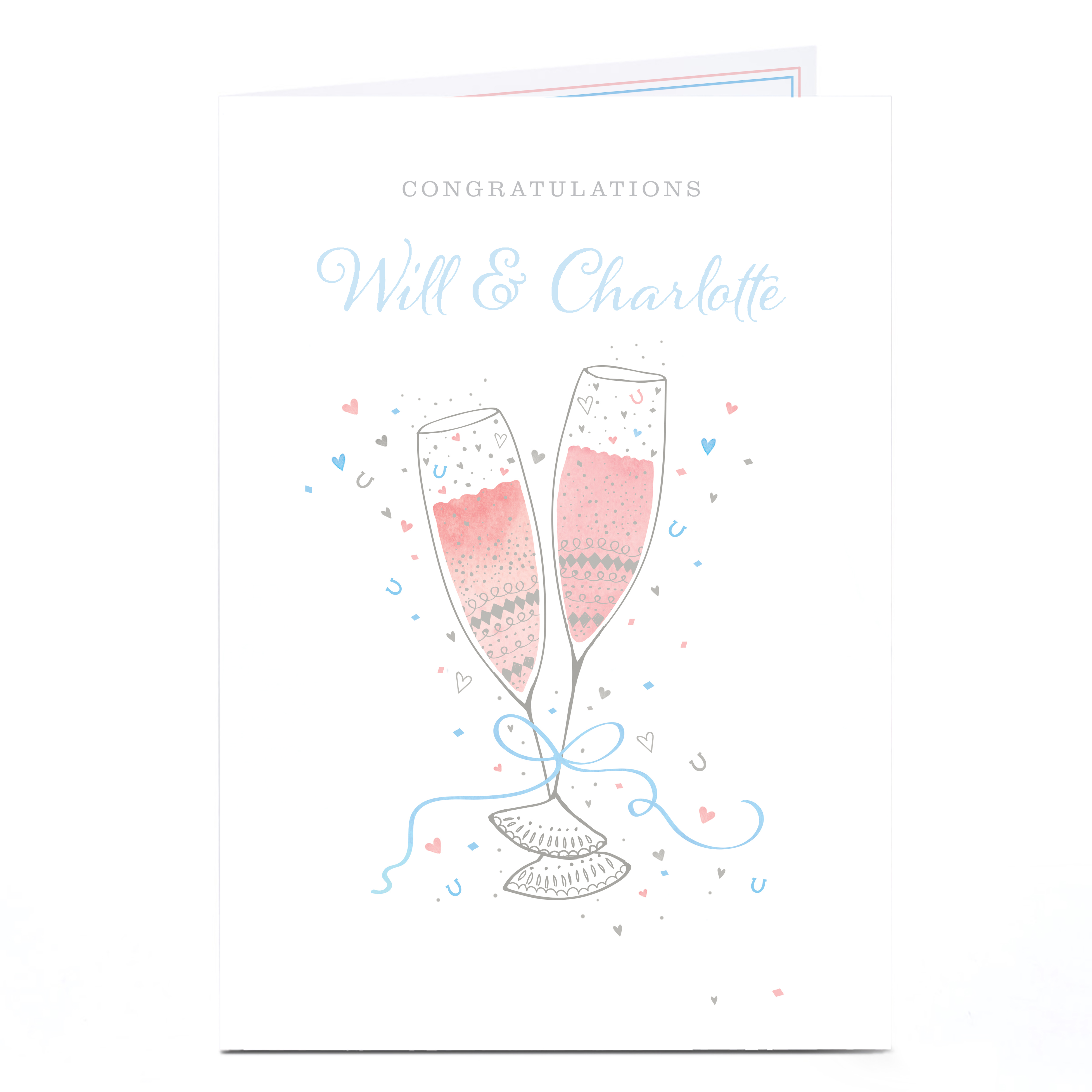 Personalised Congratulations Card - Champagne & Confetti