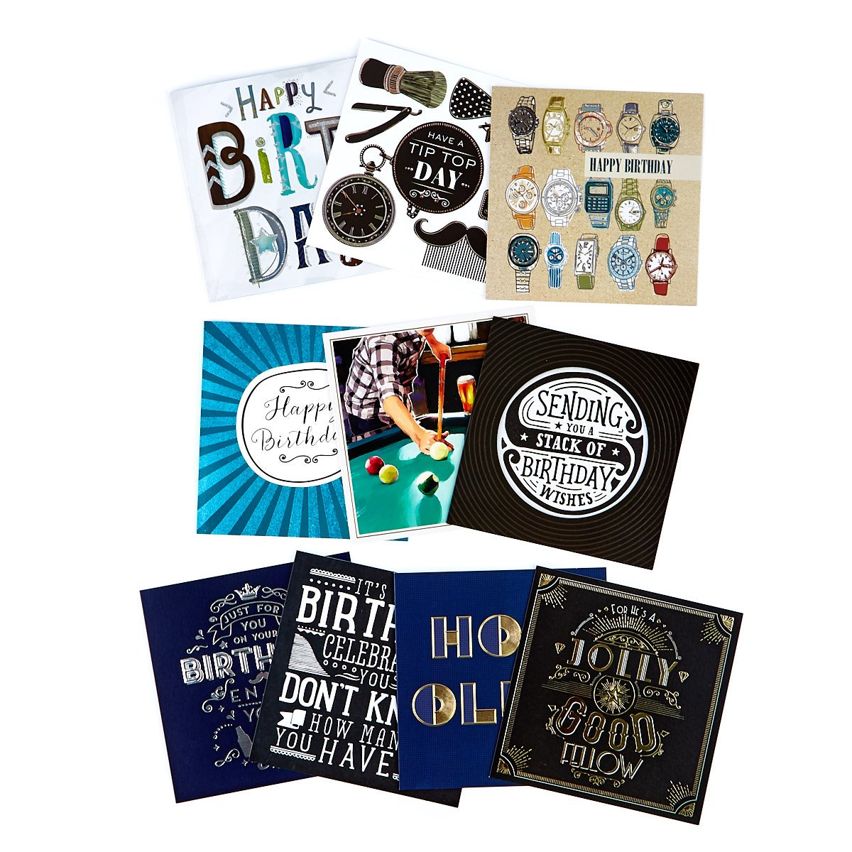 Assorted Classic Male Birthday Cards - Pack Of 10