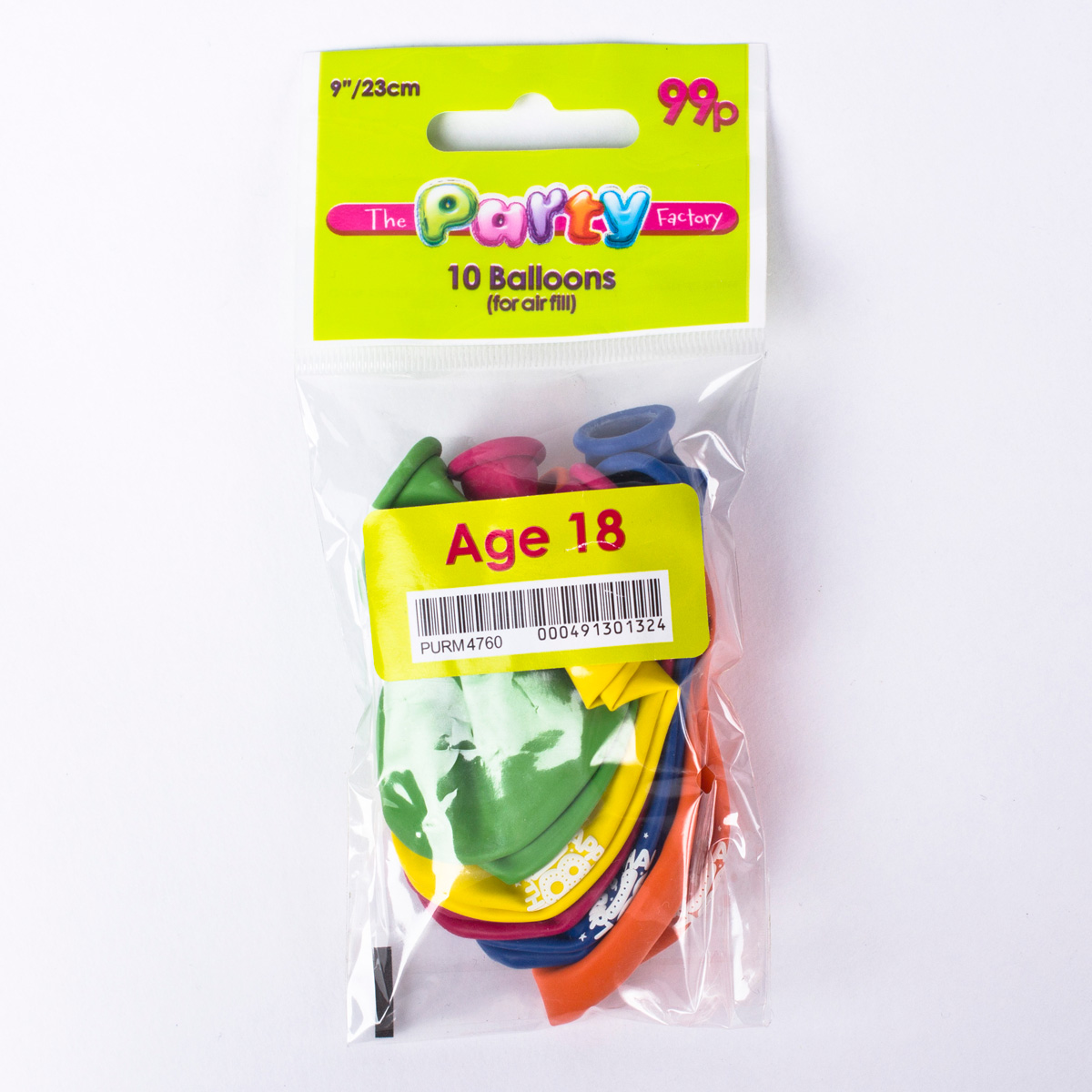 Multicoloured Age 18 Small Latex Balloons, Pack Of 10