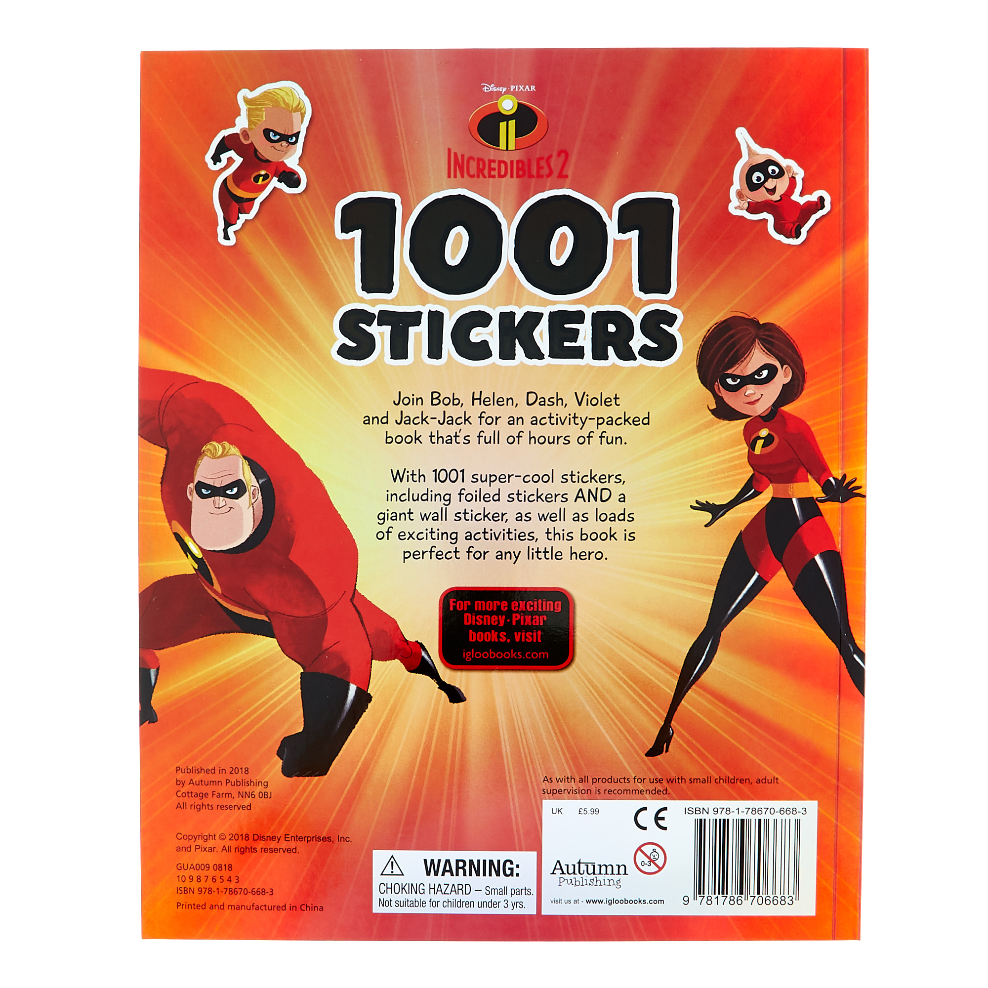 Disney's Onward, Incredibles 2 & Spider-Man Sticker Books - Set Of 3
