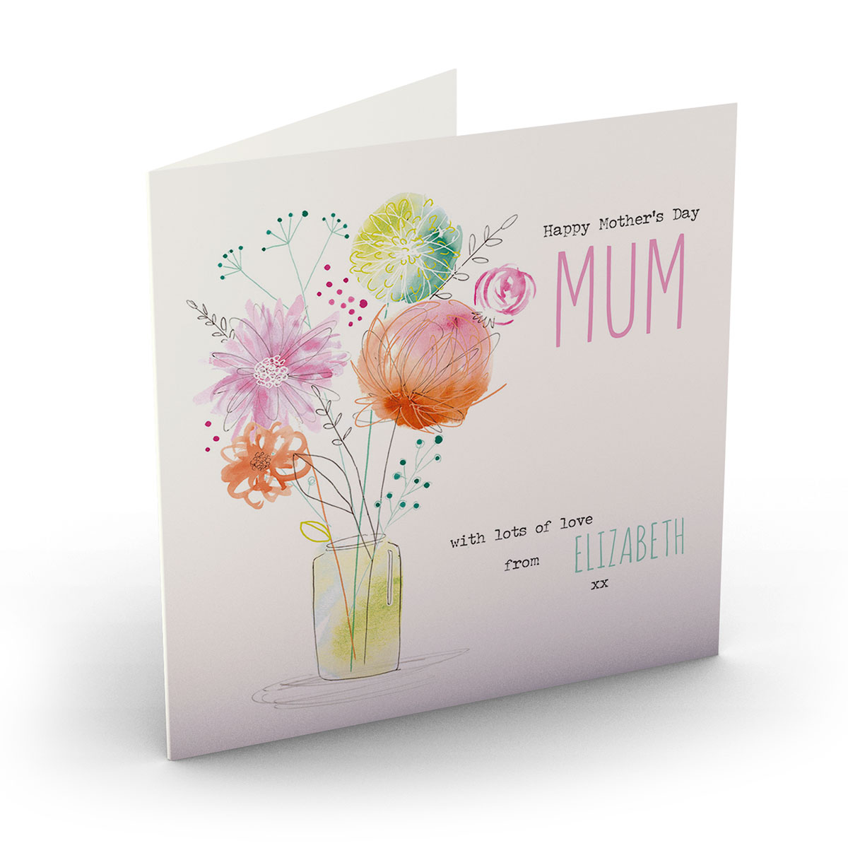 Personalised Mother's Day Card - Abstract Flowers