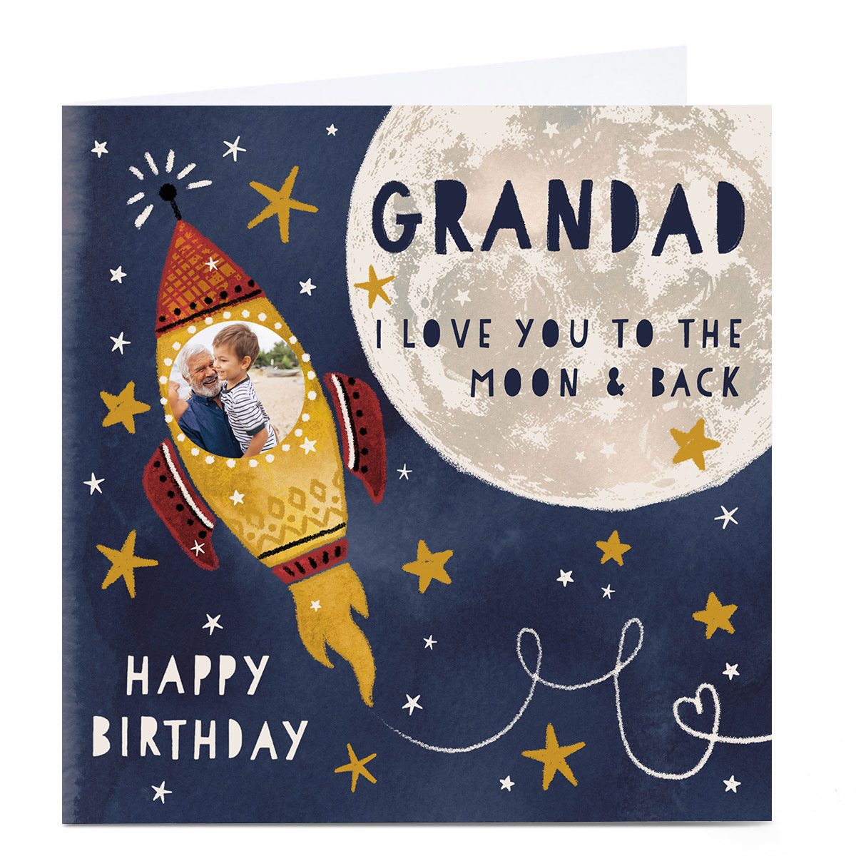 Photo Kerry Spurling Birthday Card - Moon & Back, Grandad