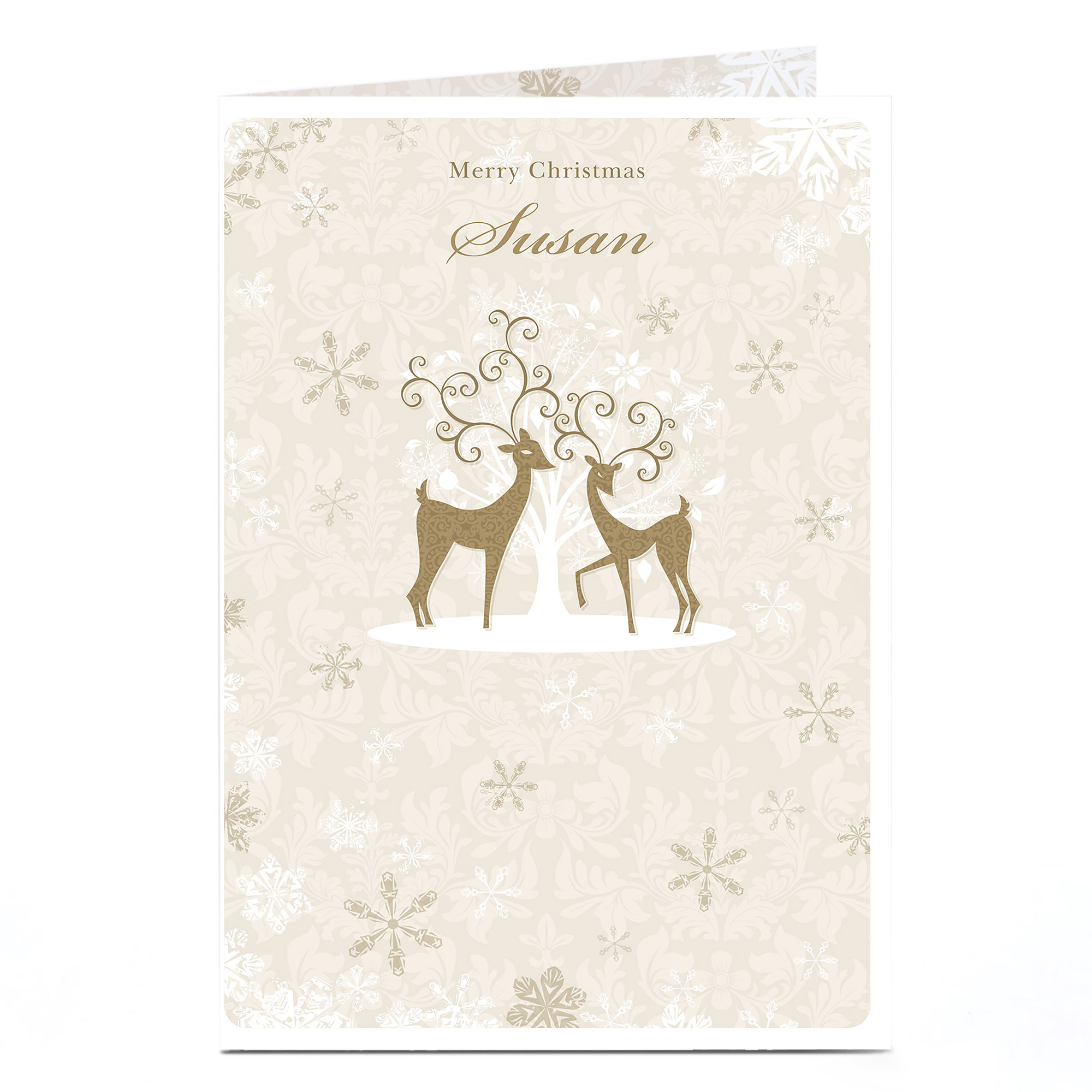 Personalised Christmas Card - Golden Reindeer