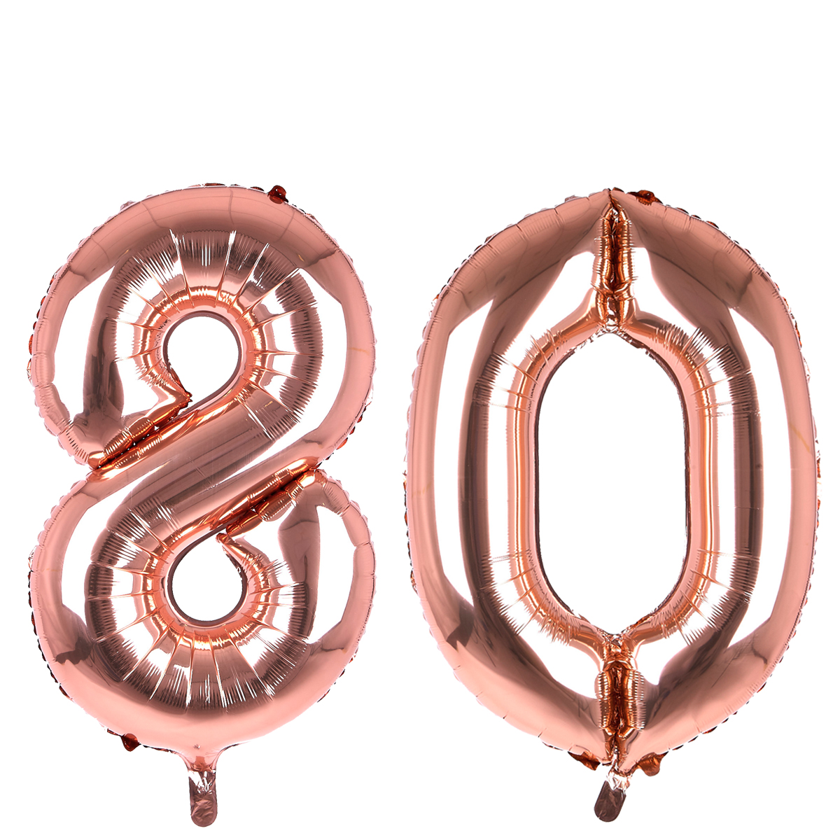 Age 80 Giant Foil Helium Numeral Balloons - Rose Gold (deflated)