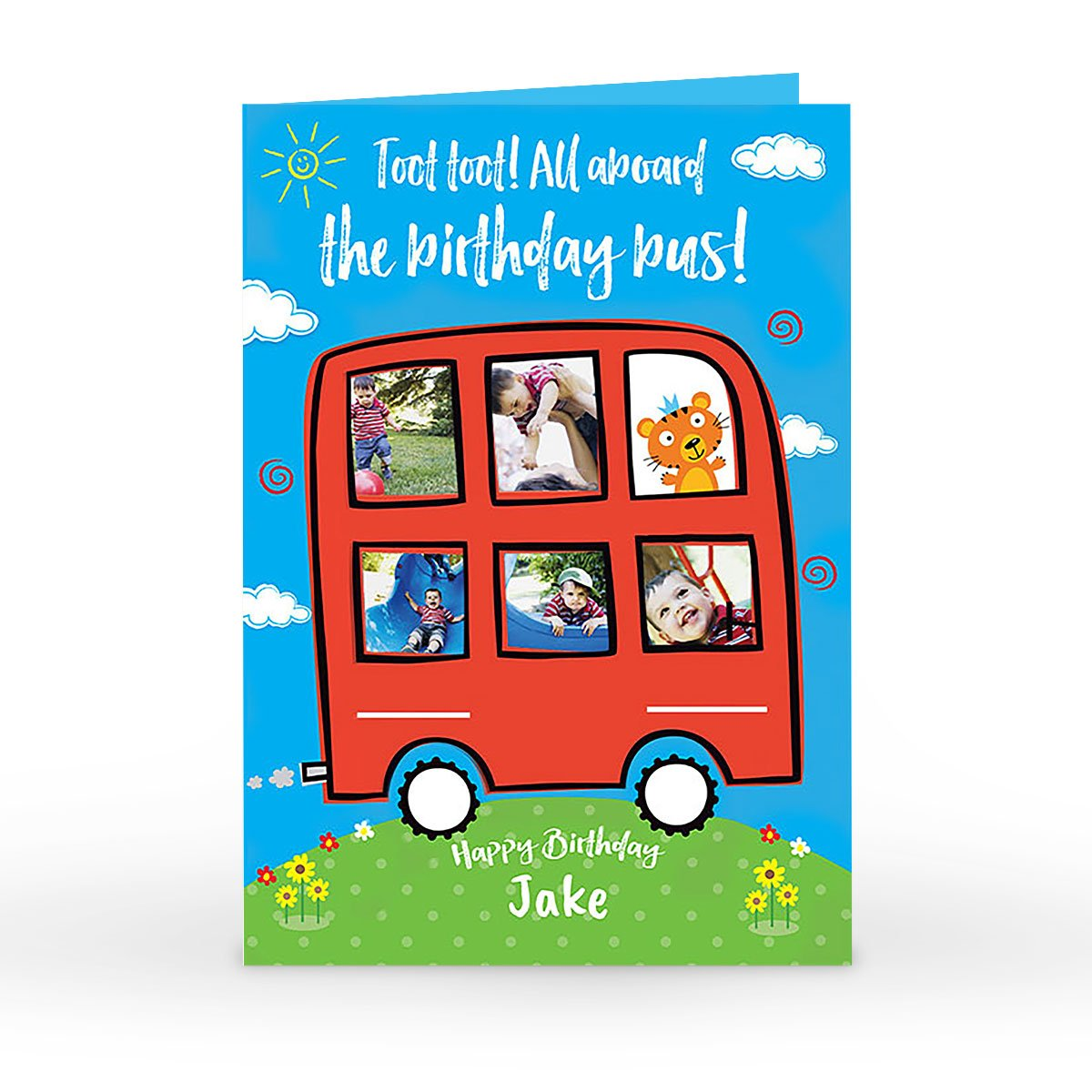 Photo Birthday Card - All Aboard The Birthday Bus