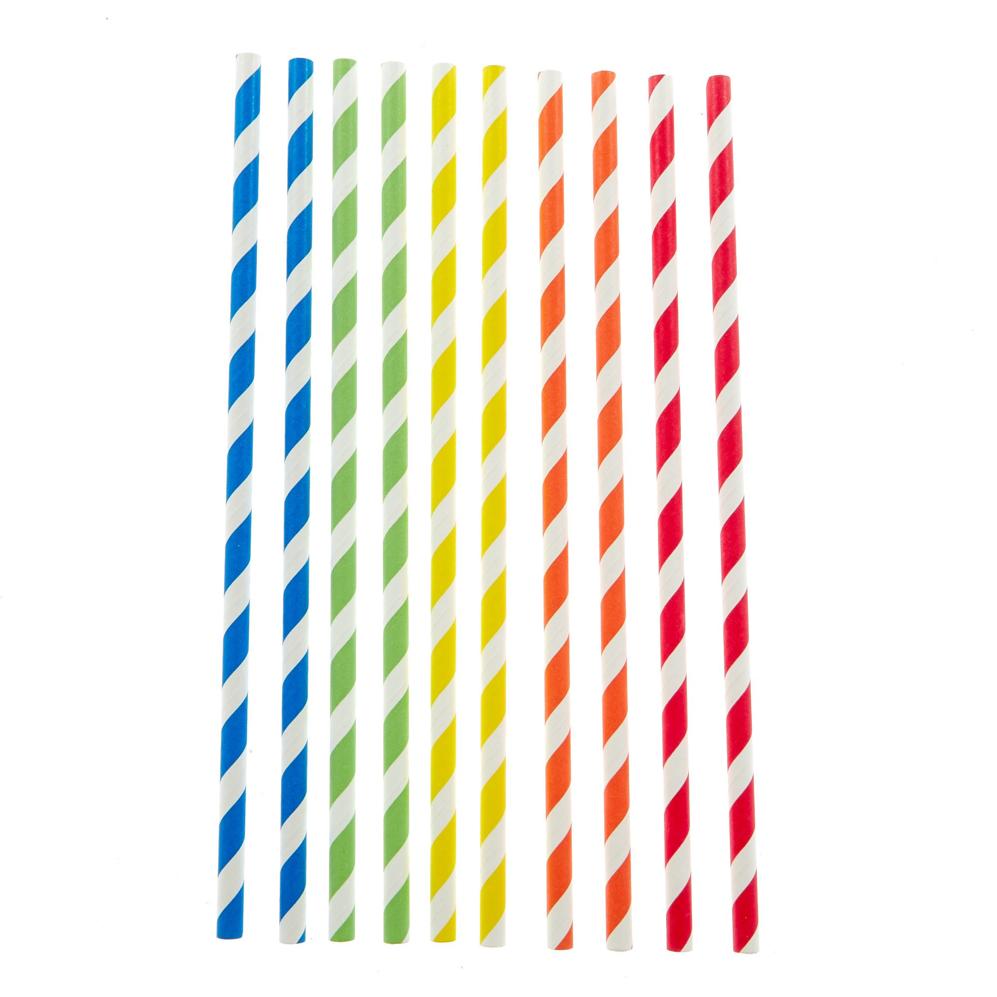 Striped Paper Straws - Pack of 40 Assorted