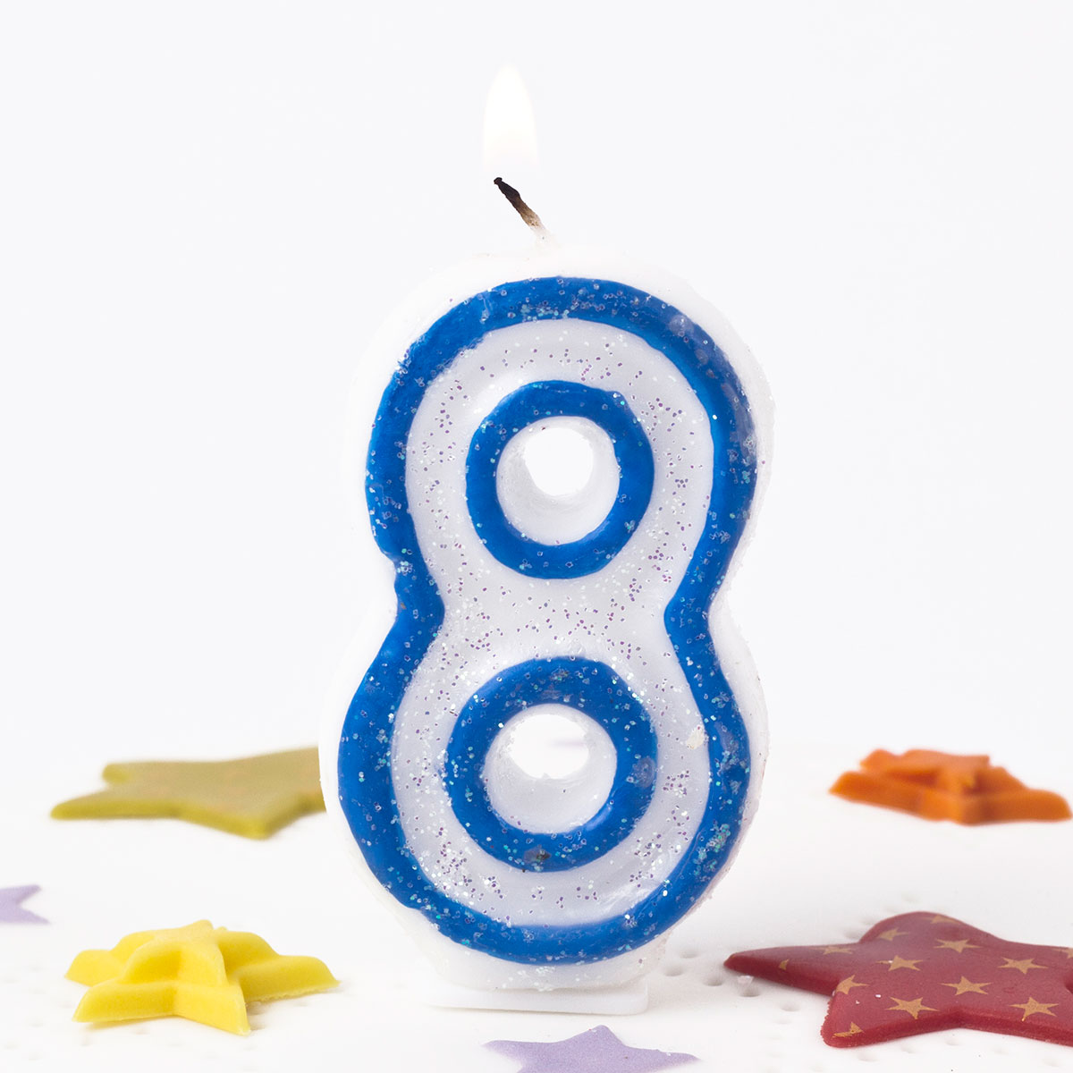 Blue Glittery Number 8 Birthday Candle