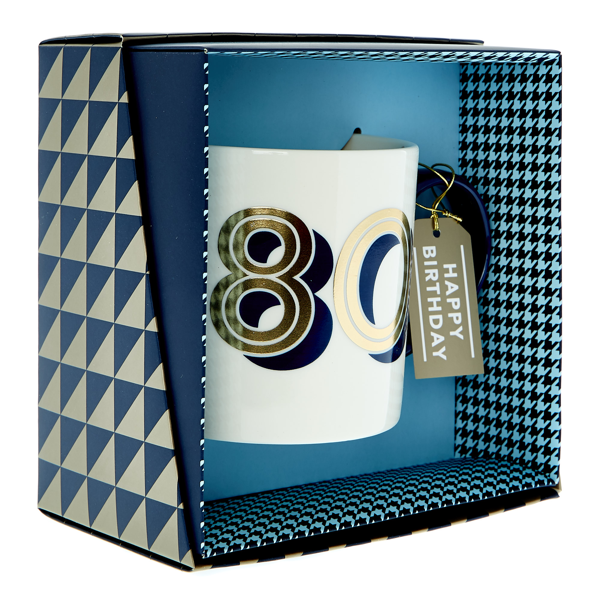 80th Birthday Mug In A Box - Blue & Gold