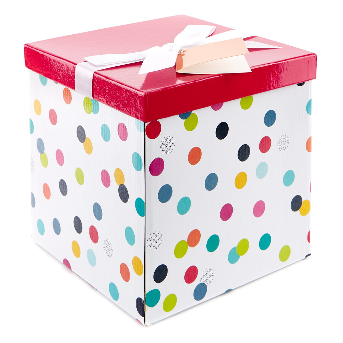 Large Flat-Pack Gift Box - Red & White With Spots