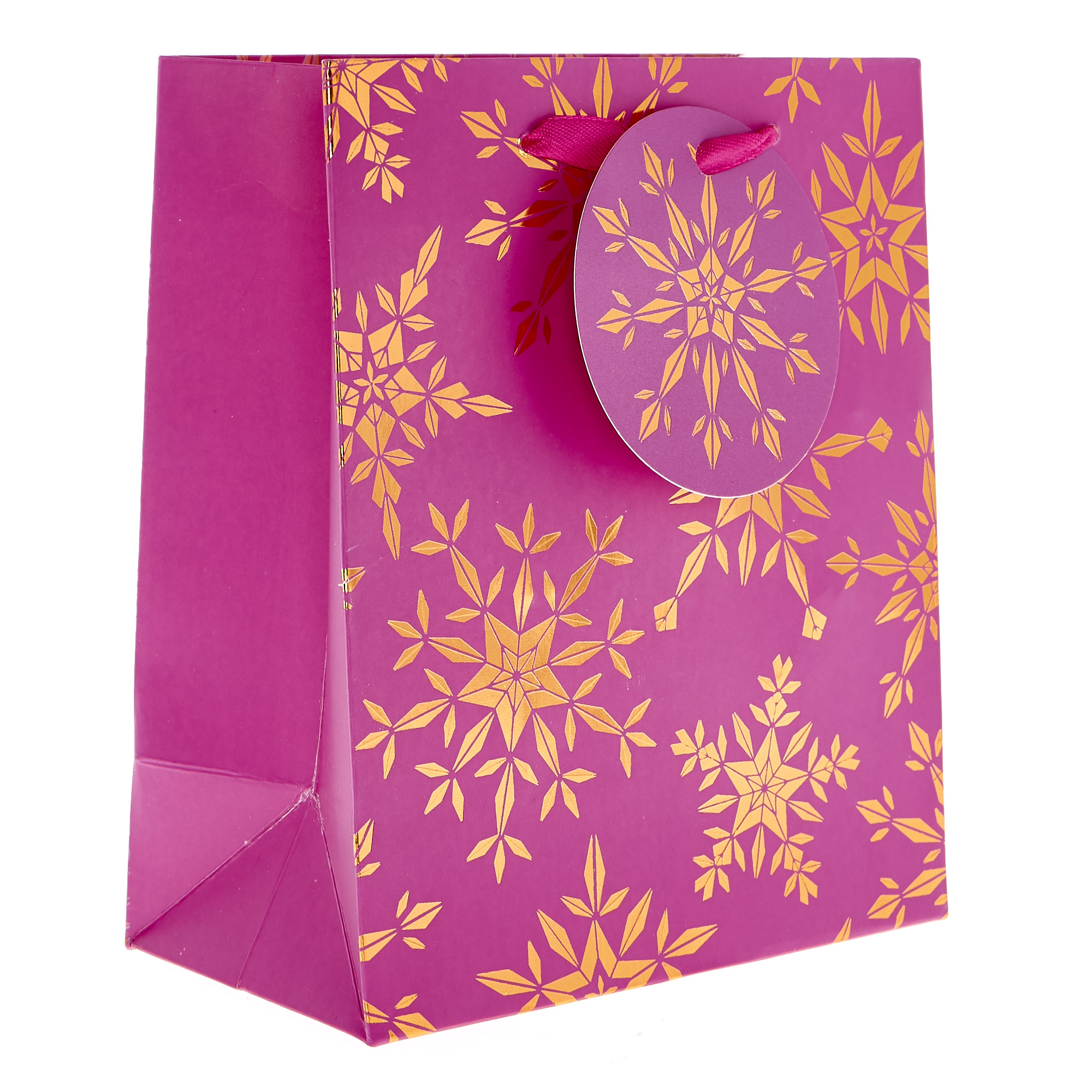 Miniature Portrait Pink & Bronze Snowflakes Christmas Gift Bag