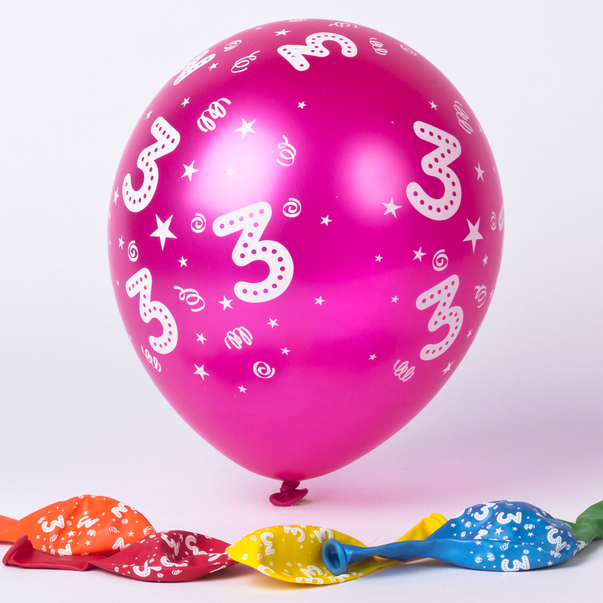 Multicoloured 3rd Birthday Latex Balloons - Pack Of 6