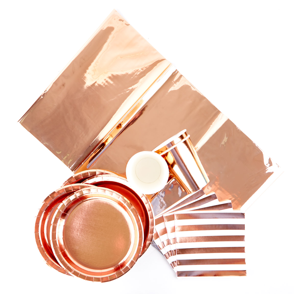 Rose Gold Party Tableware Bundle - 65 Pieces