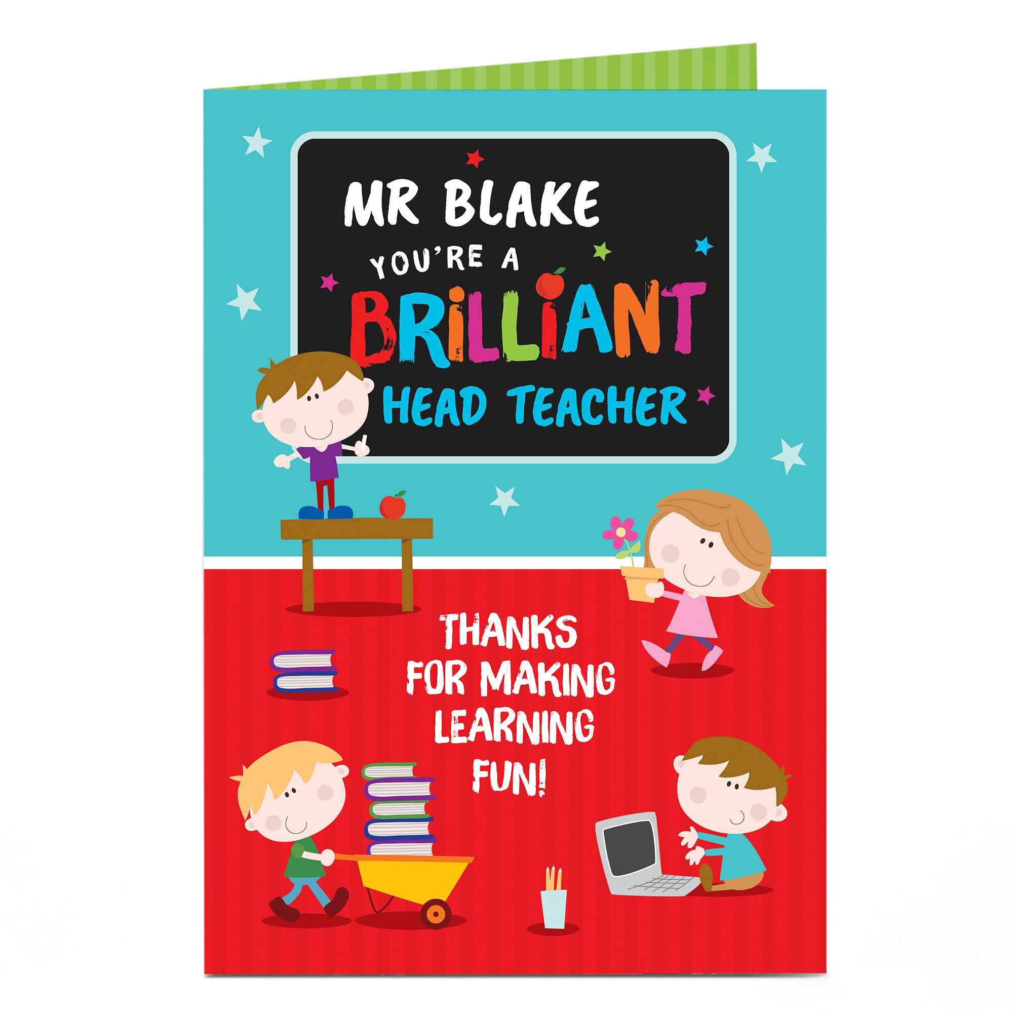 Personalised Thank You Teacher Card - Brilliant Head Teacher