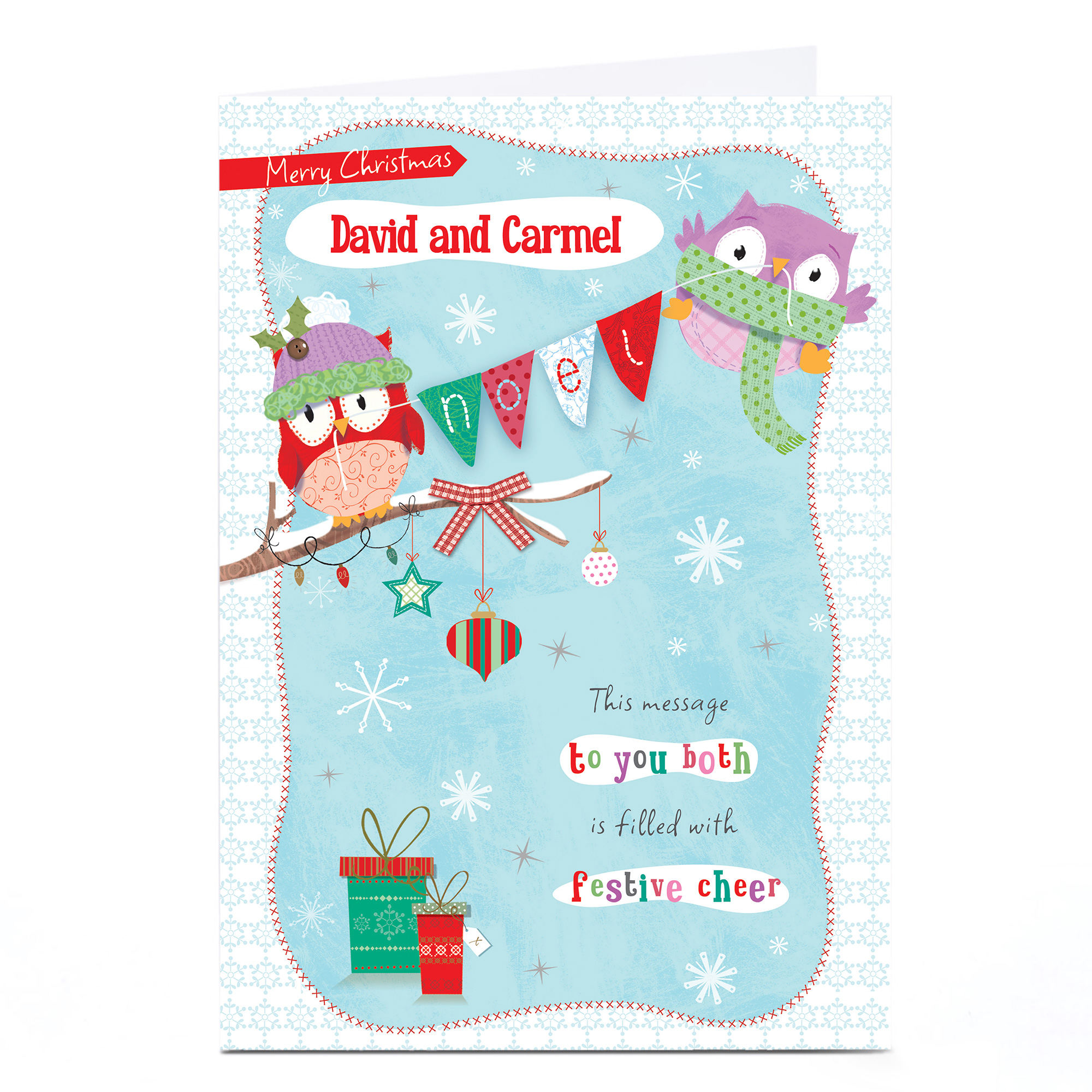 Personalised Christmas Card - Owls, To You Both