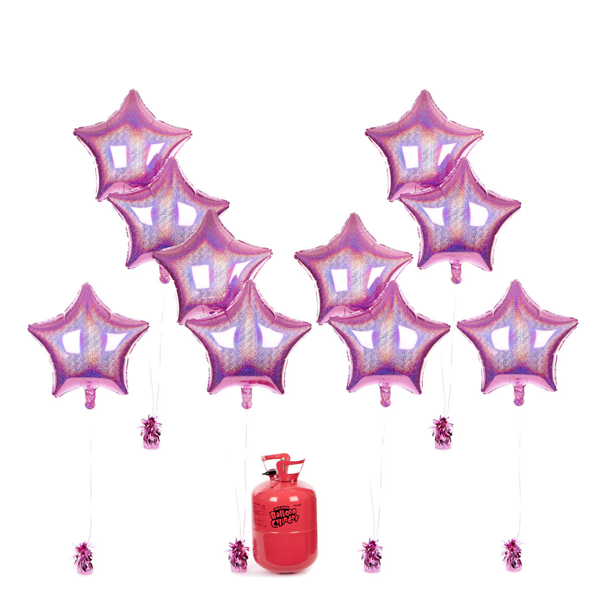 Party Balloon Bundle - 10 Pink Stars & Helium