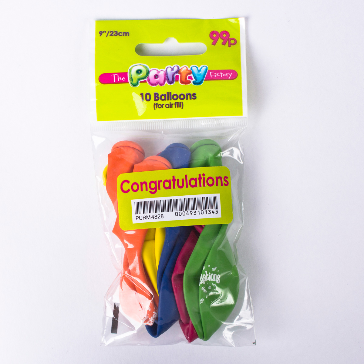 Multicoloured Congratulations Small Latex Balloons, Pack Of 10