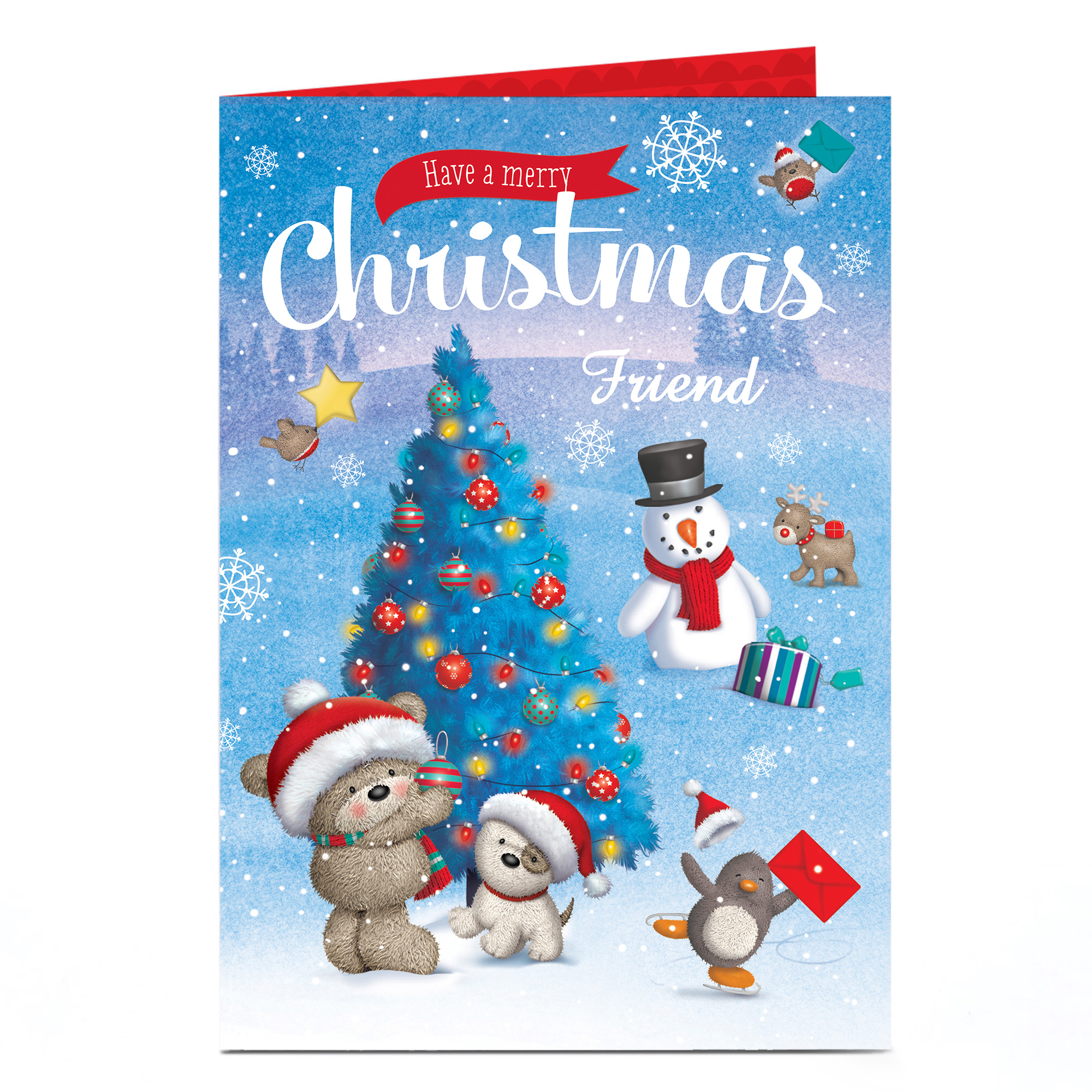 Personalised Hugs Christmas Card - Decorating Tree - Friend