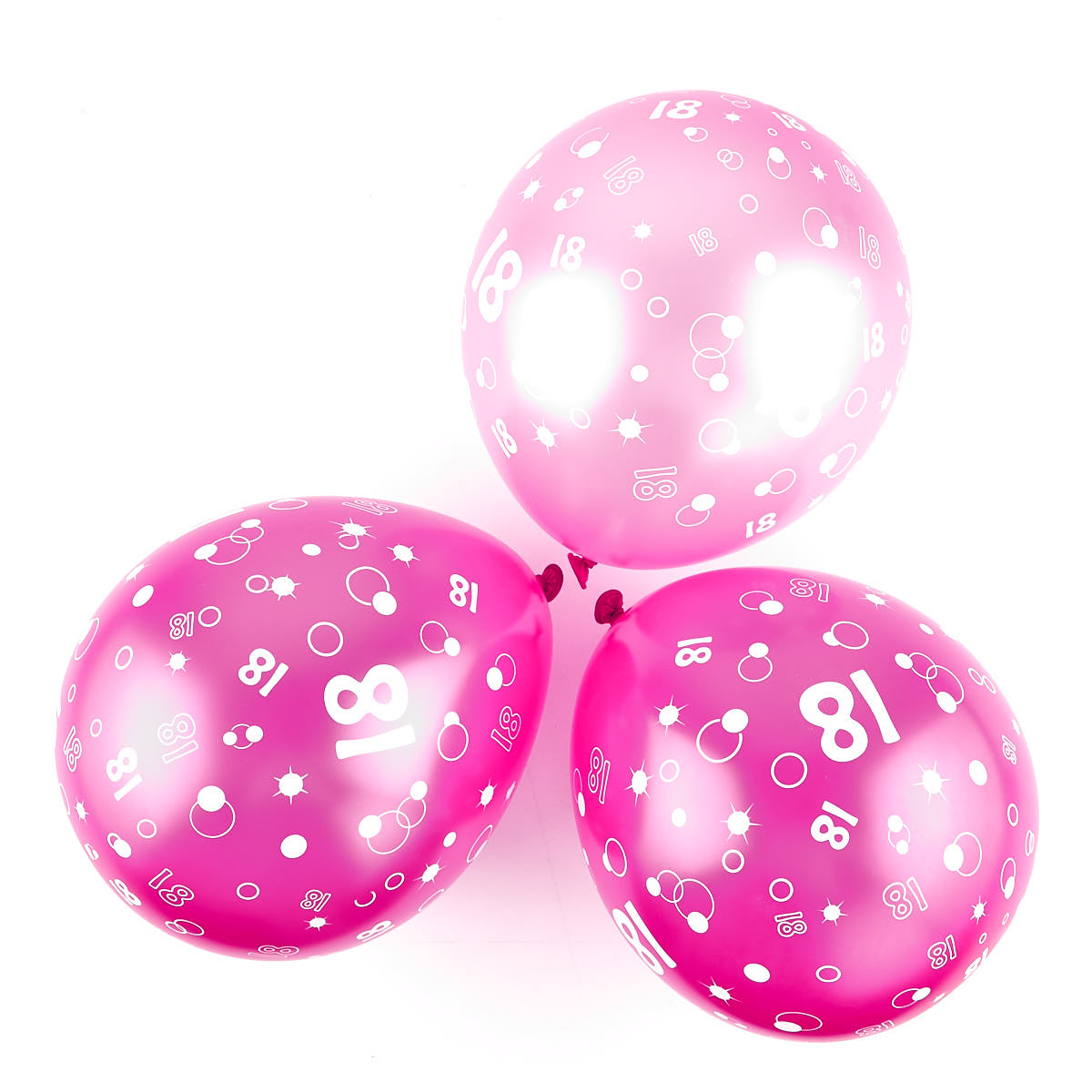 Metallic Pink Circles 18th Birthday Helium Latex Balloons - Pack Of 6