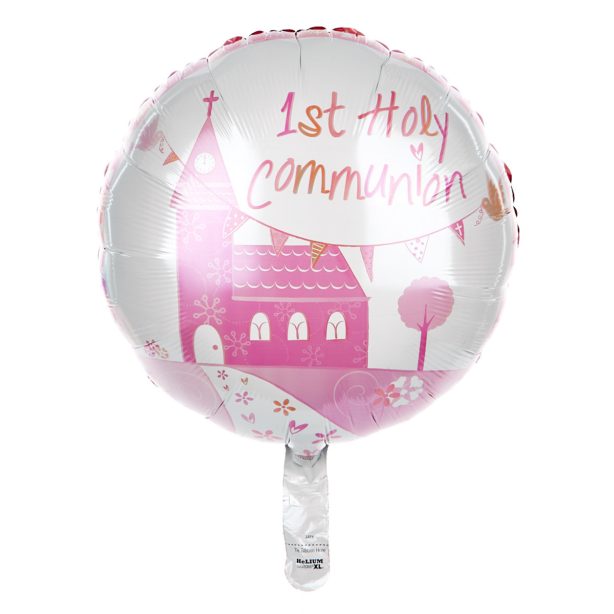 1st Holy Communion 18-Inch Foil Helium Balloon - Pink Church