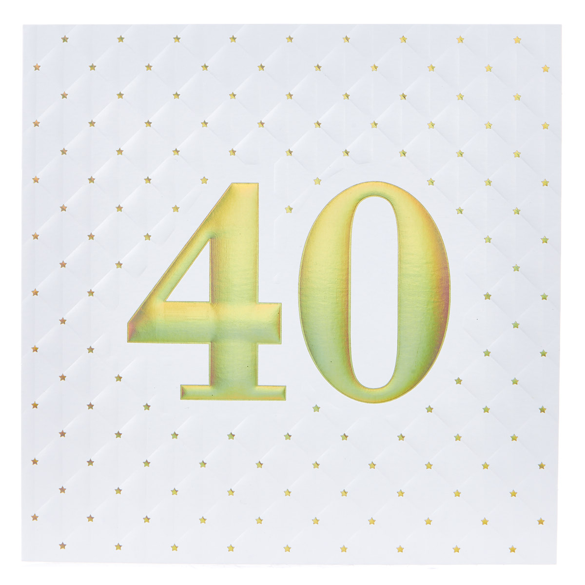 Platinum Collection 40th Birthday Card - While & Gold, Quilted
