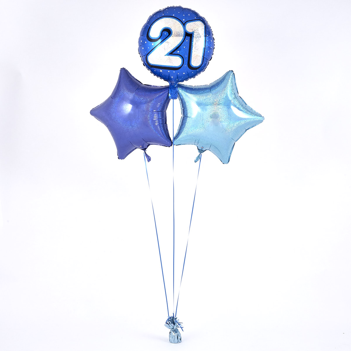 Blue 21st Birthday Balloon Bouquet - DELIVERED INFLATED!