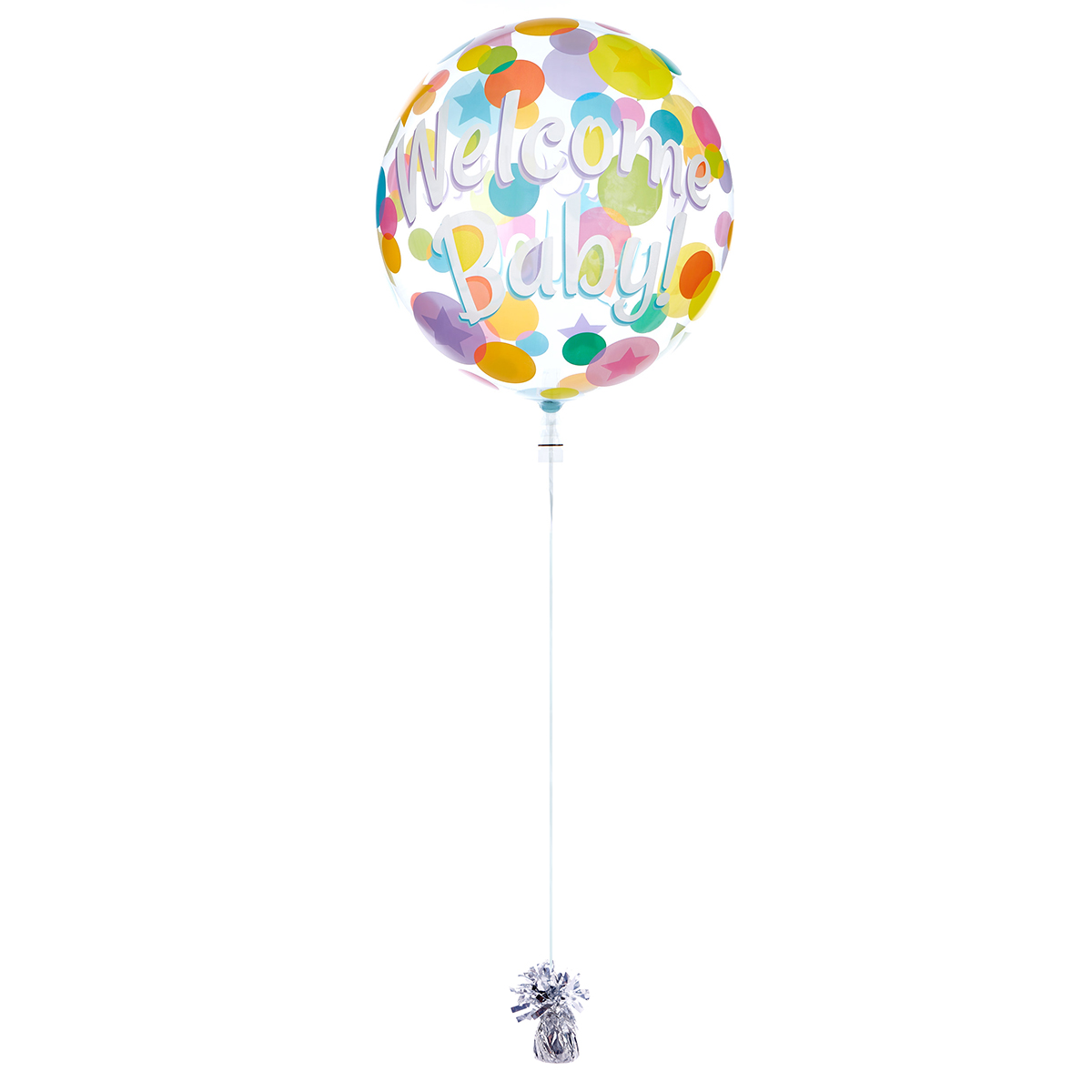 22-Inch Bubble Balloon - Welcome Baby - DELIVERED INFLATED!