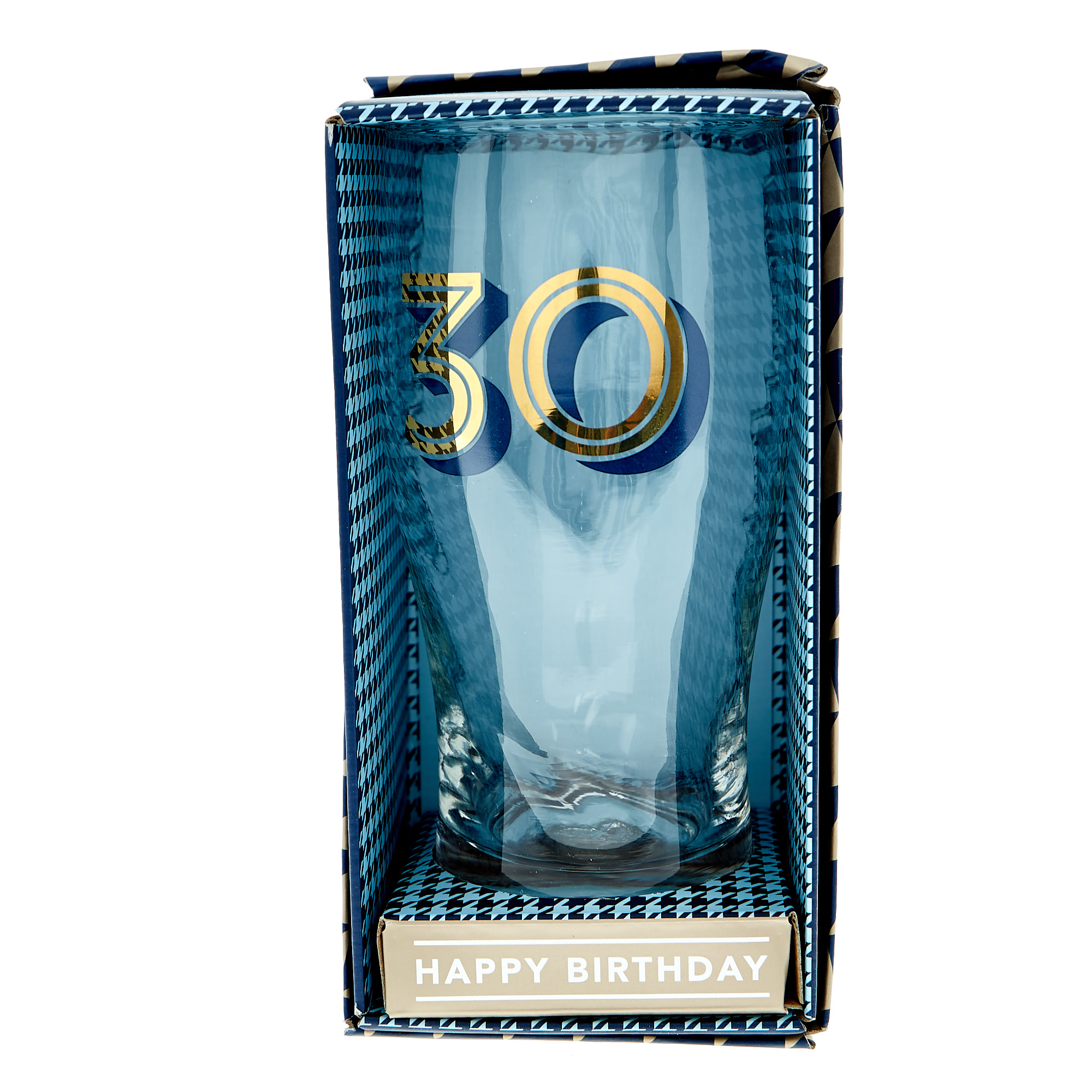 30th Birthday Pint Glass In A Box - Blue & Gold