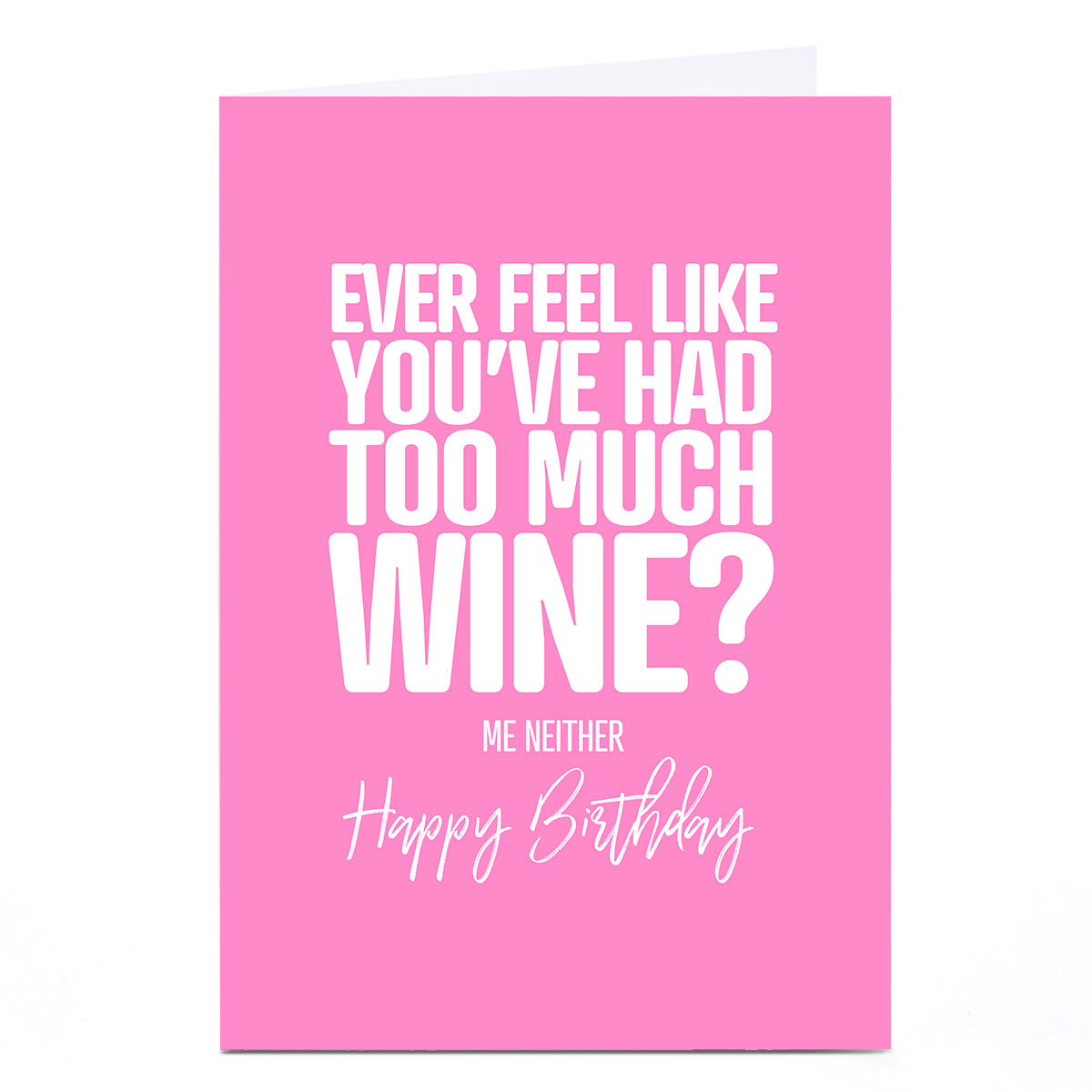Personalised Punk Birthday Card - Too Much Wine