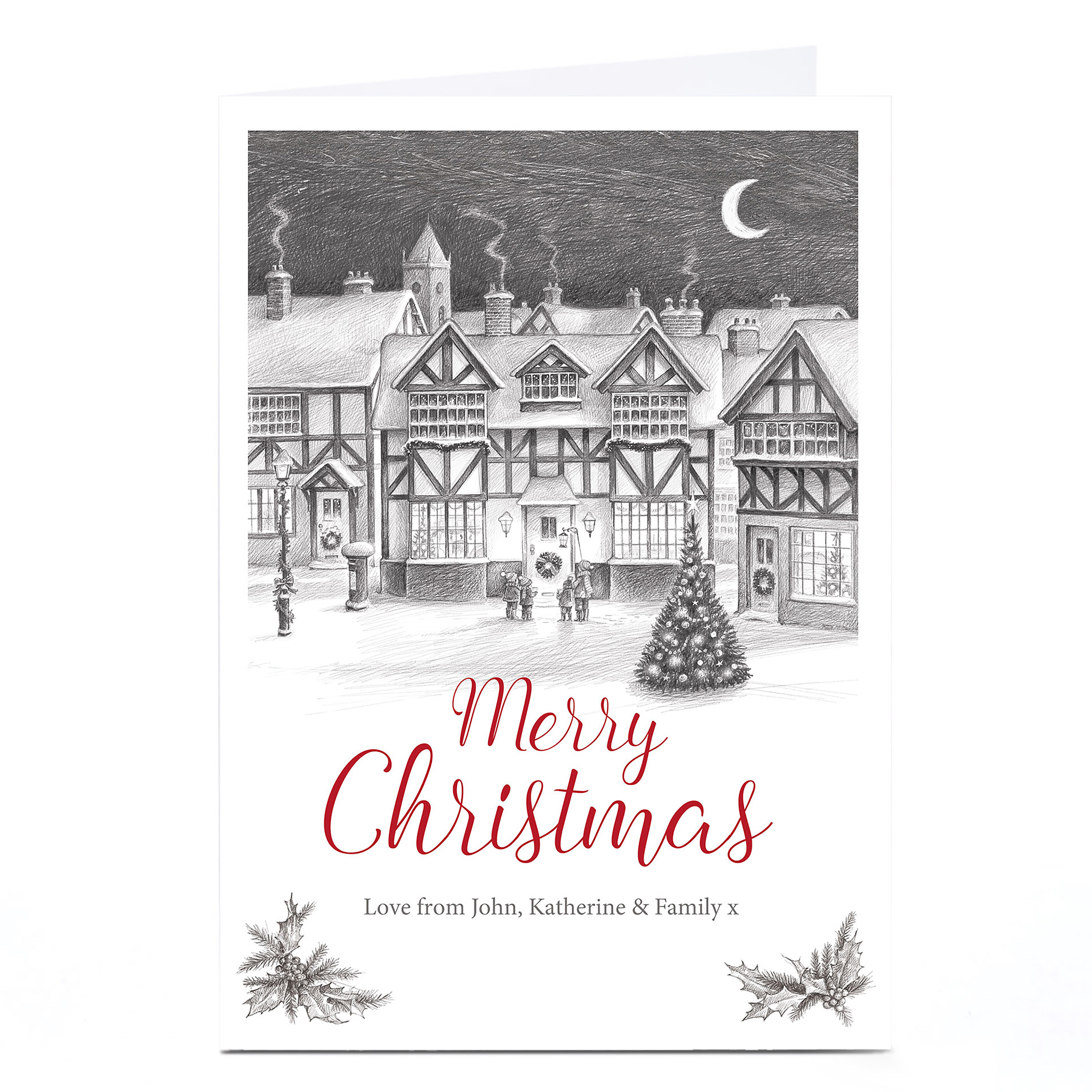 Personalised Christmas Card - Winter Village Sketch
