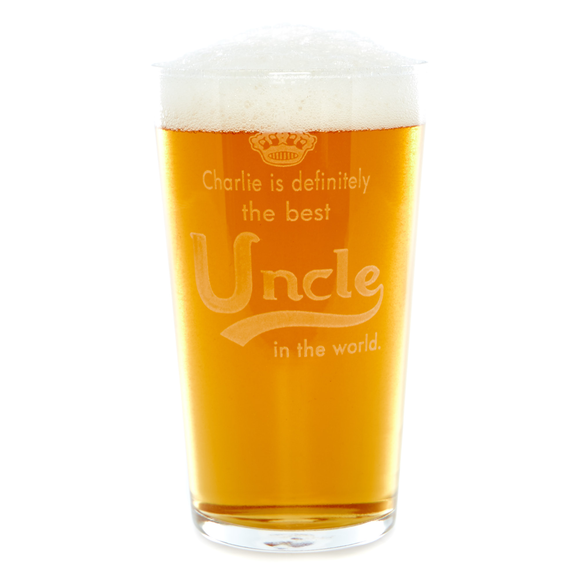 Personalised Best Uncle Pint Glass