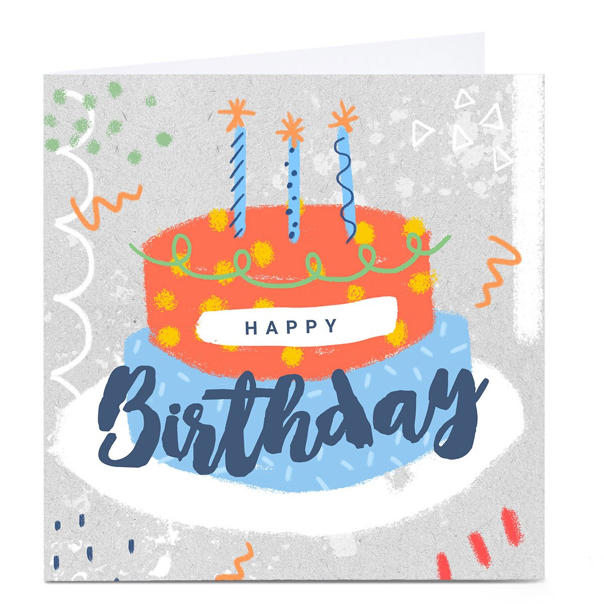 Personalised Little Mono Birthday Card - Cake