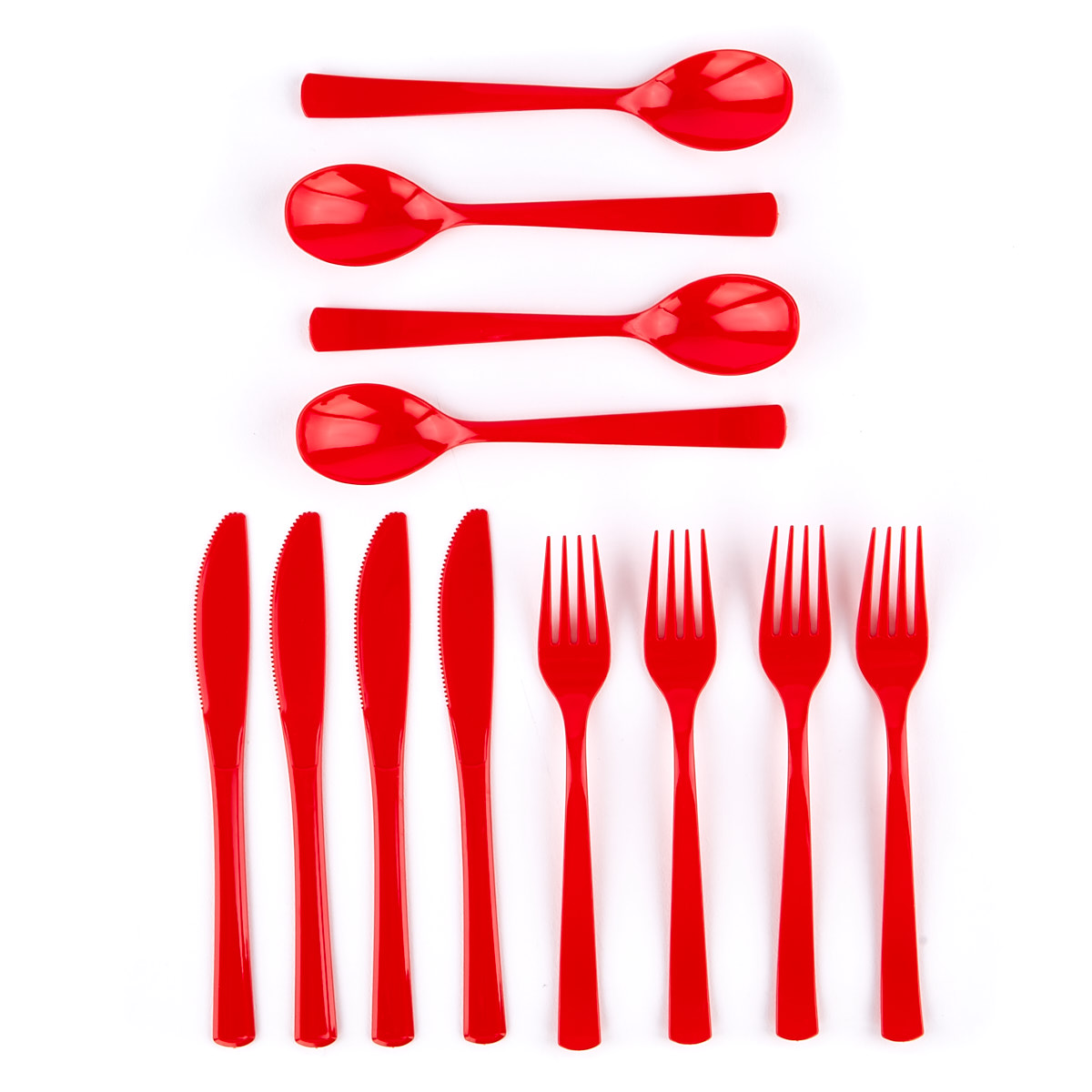 Reusable Red Plastic Cutlery Set - 54 Pieces